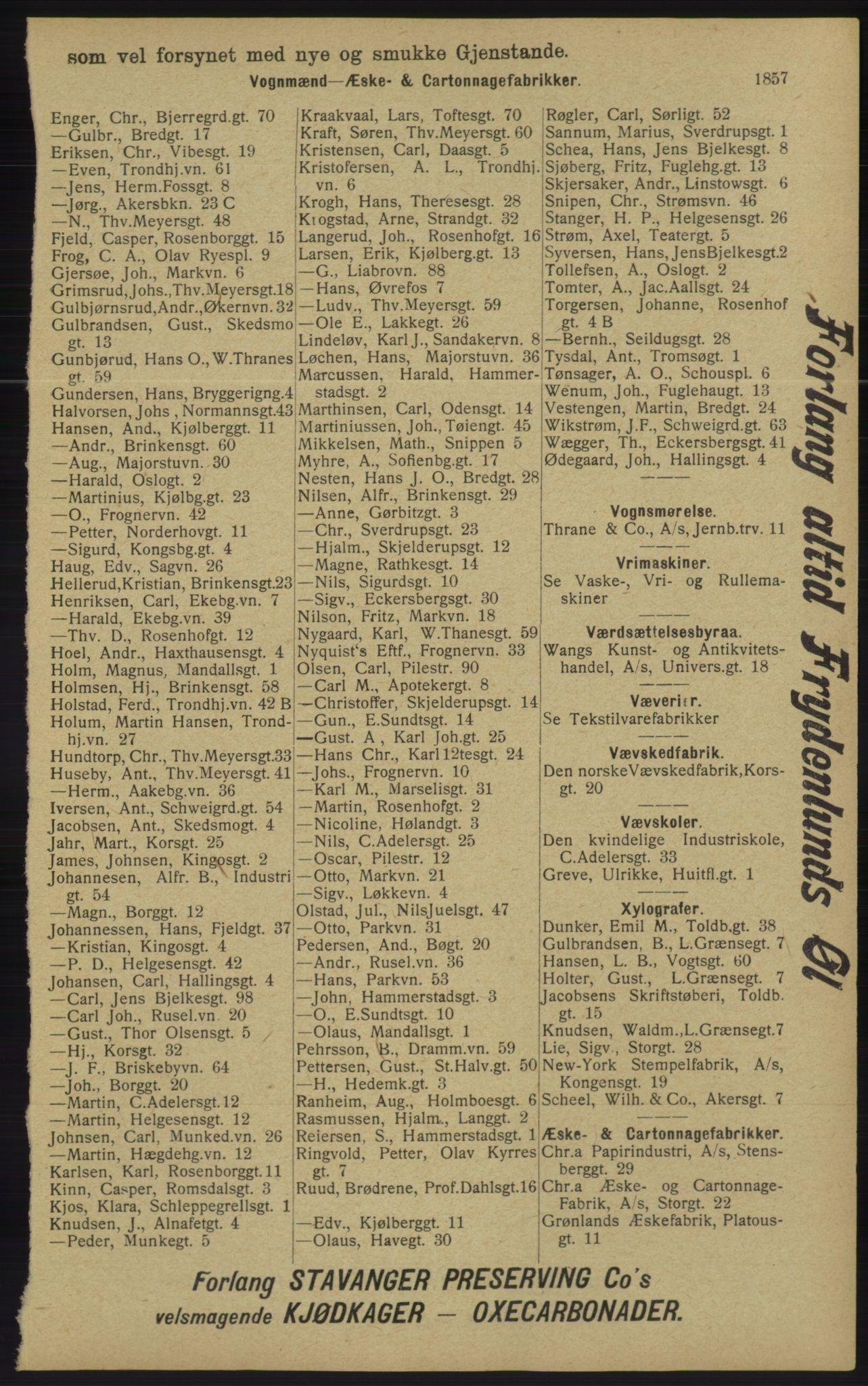 RA, Kristiania adressebok (publikasjon)*, 1913, s. 1857