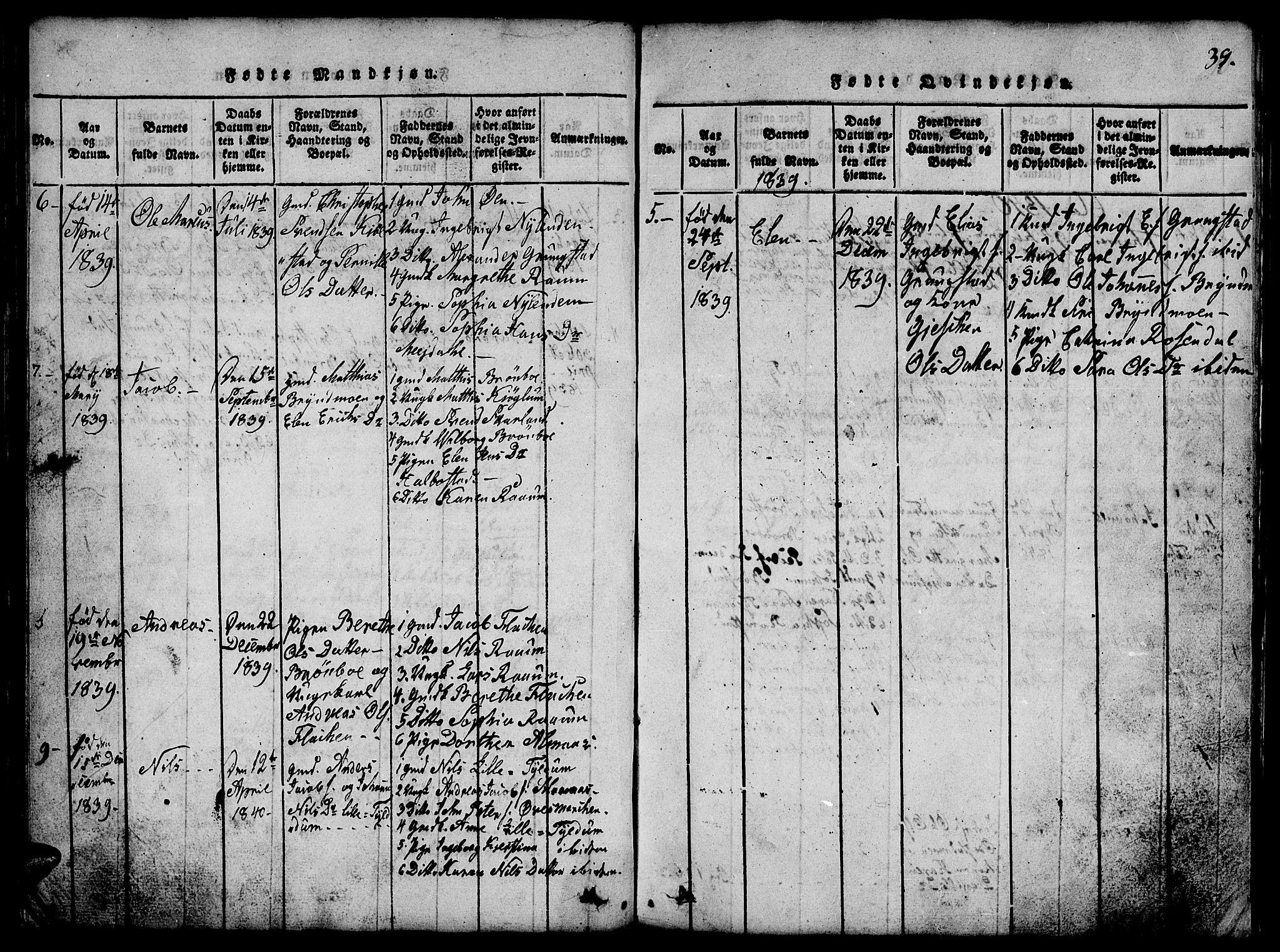 SAT, Ministerialprotokoller, klokkerbøker og fødselsregistre - Nord-Trøndelag, 765/L0562: Klokkerbok nr. 765C01, 1817-1851, s. 39