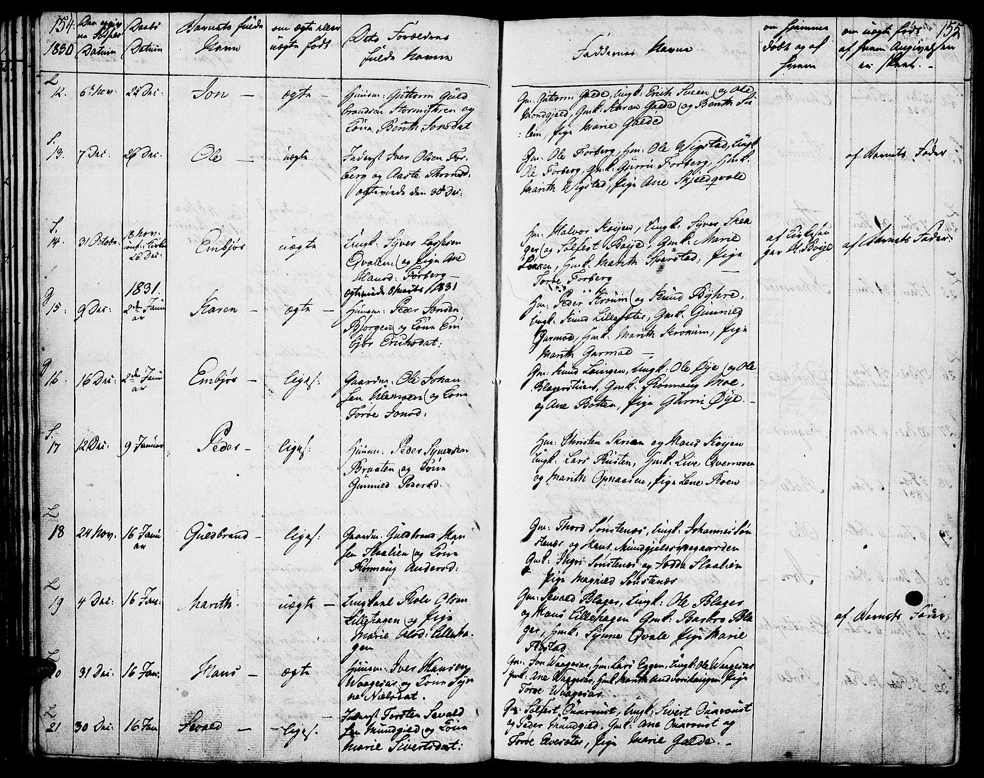 SAH, Lom prestekontor, K/L0005: Ministerialbok nr. 5, 1825-1837, s. 154-155