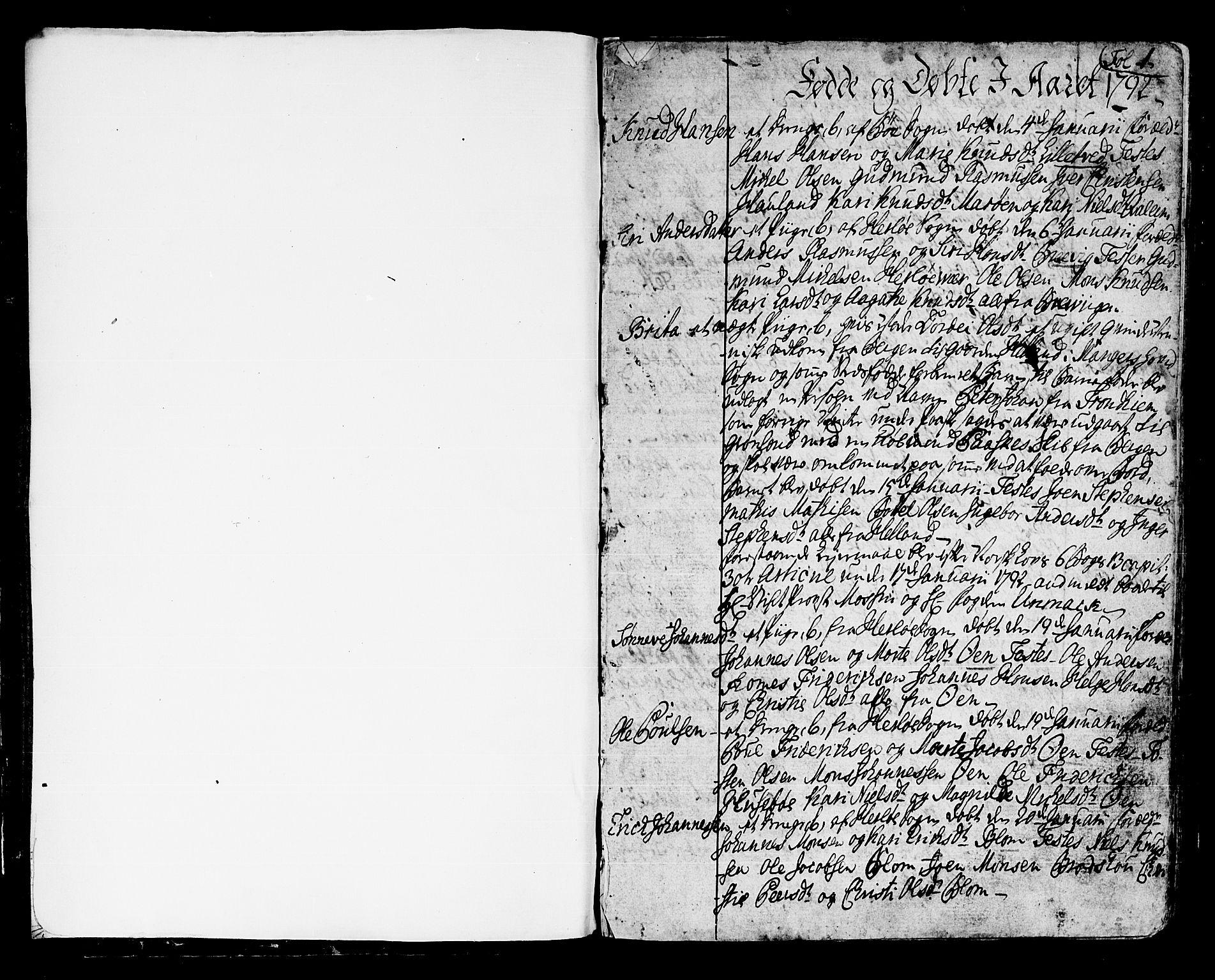 SAB, Manger sokneprestembete, H/Haa: Ministerialbok nr. A 2, 1792-1815, s. 1