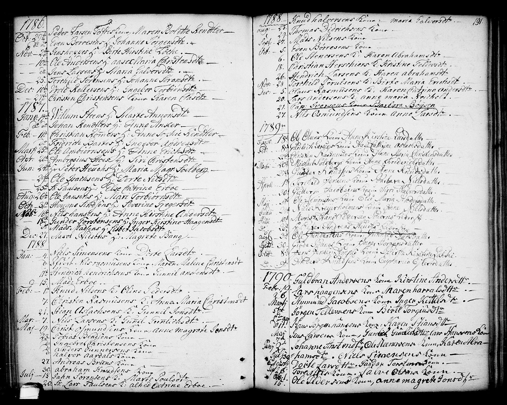 SAKO, Kragerø kirkebøker, F/Fa/L0002: Ministerialbok nr. 2, 1767-1802, s. 191
