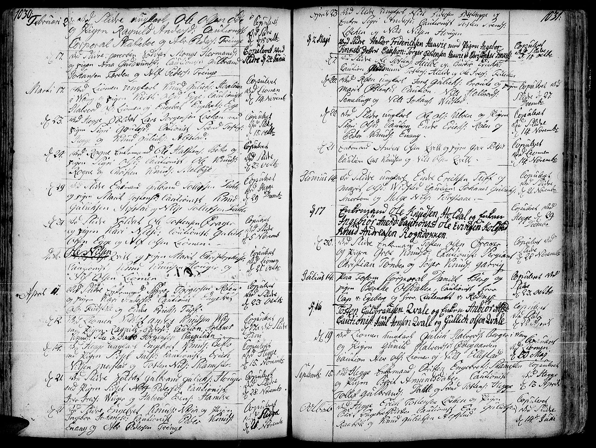SAH, Slidre prestekontor, Ministerialbok nr. 1, 1724-1814, s. 1030-1031