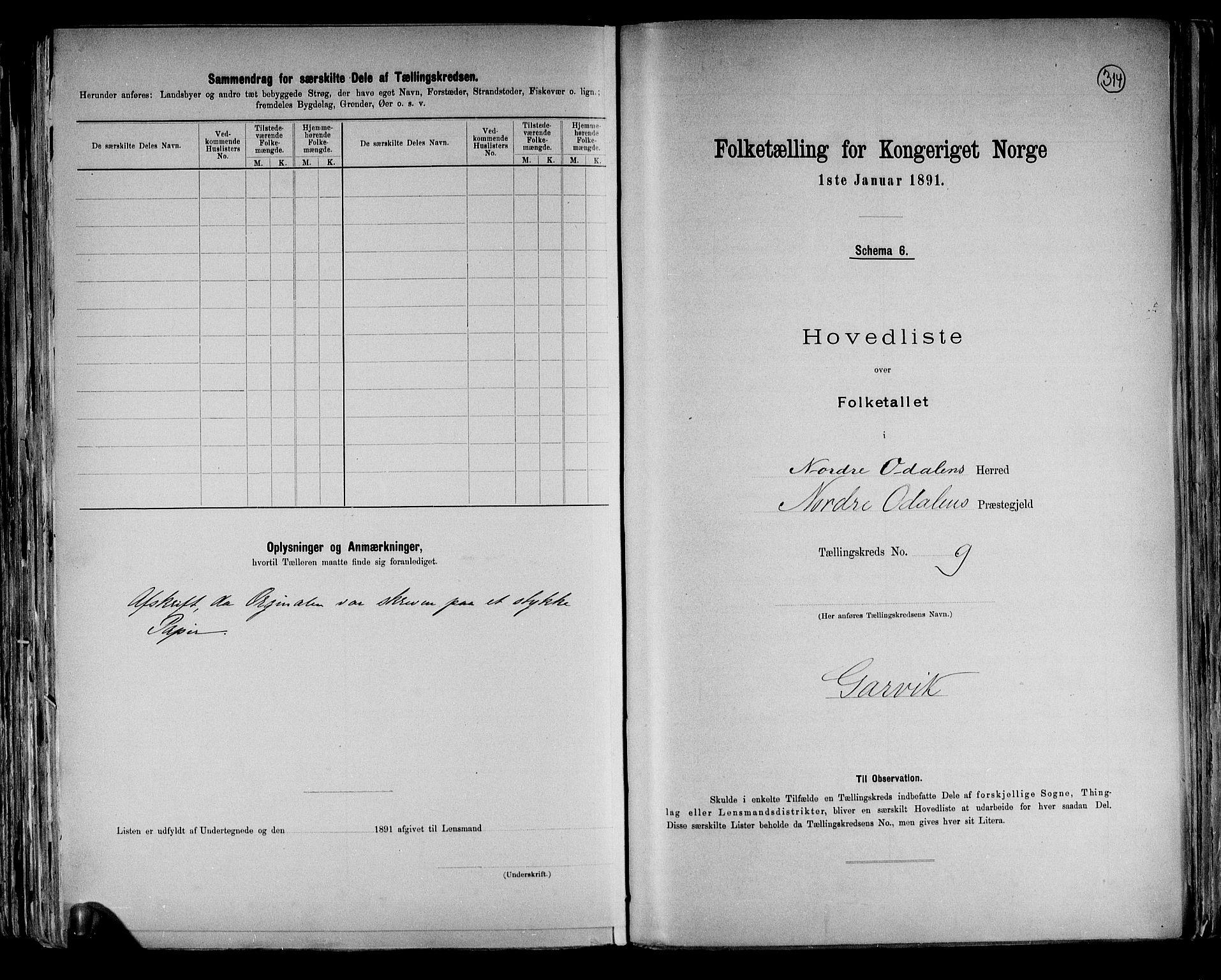 RA, Folketelling 1891 for 0418 Nord-Odal herred, 1891, s. 27