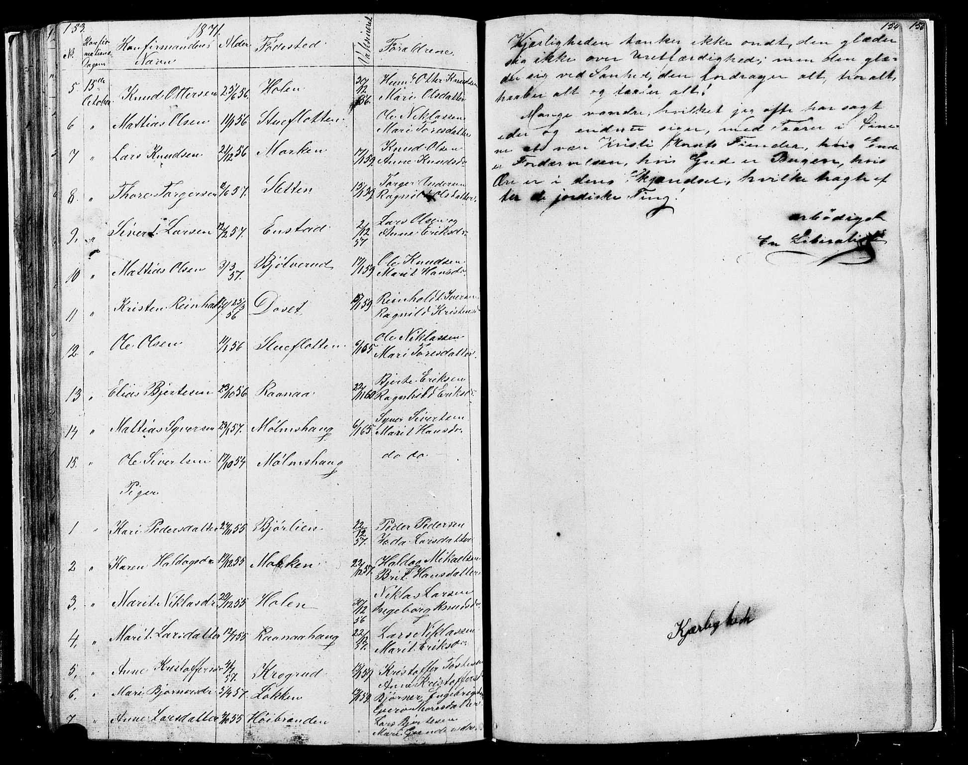 SAH, Lesja prestekontor, Klokkerbok nr. 4, 1842-1871, s. 153-154