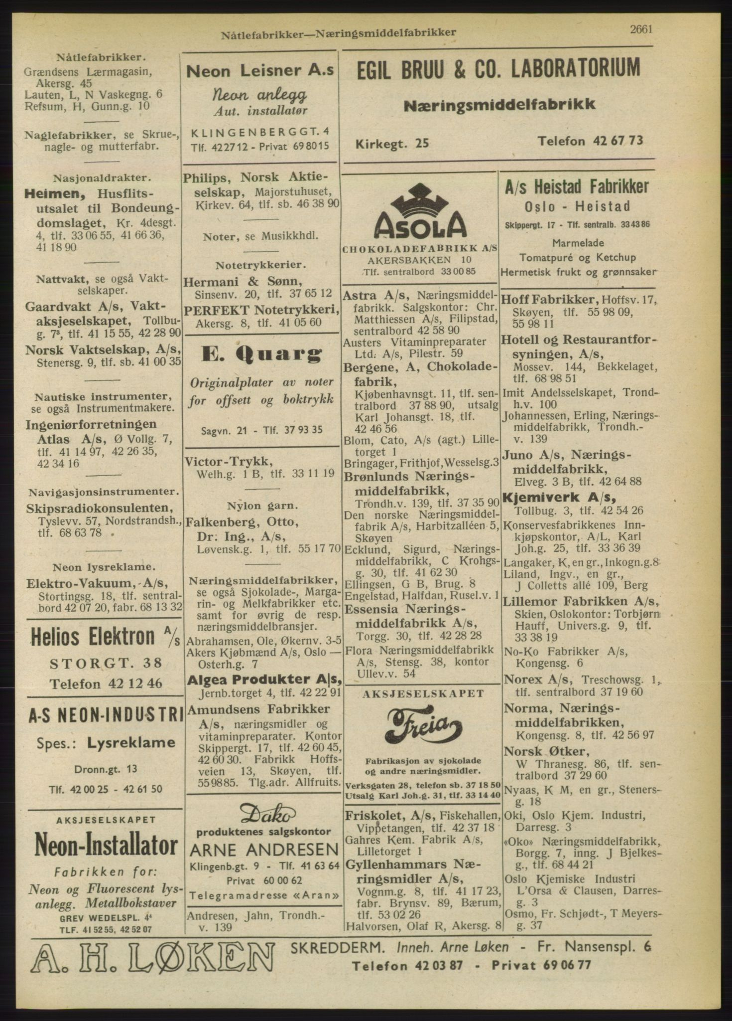 RA, Oslo adressebok (publikasjon)*, 1949, s. 2661