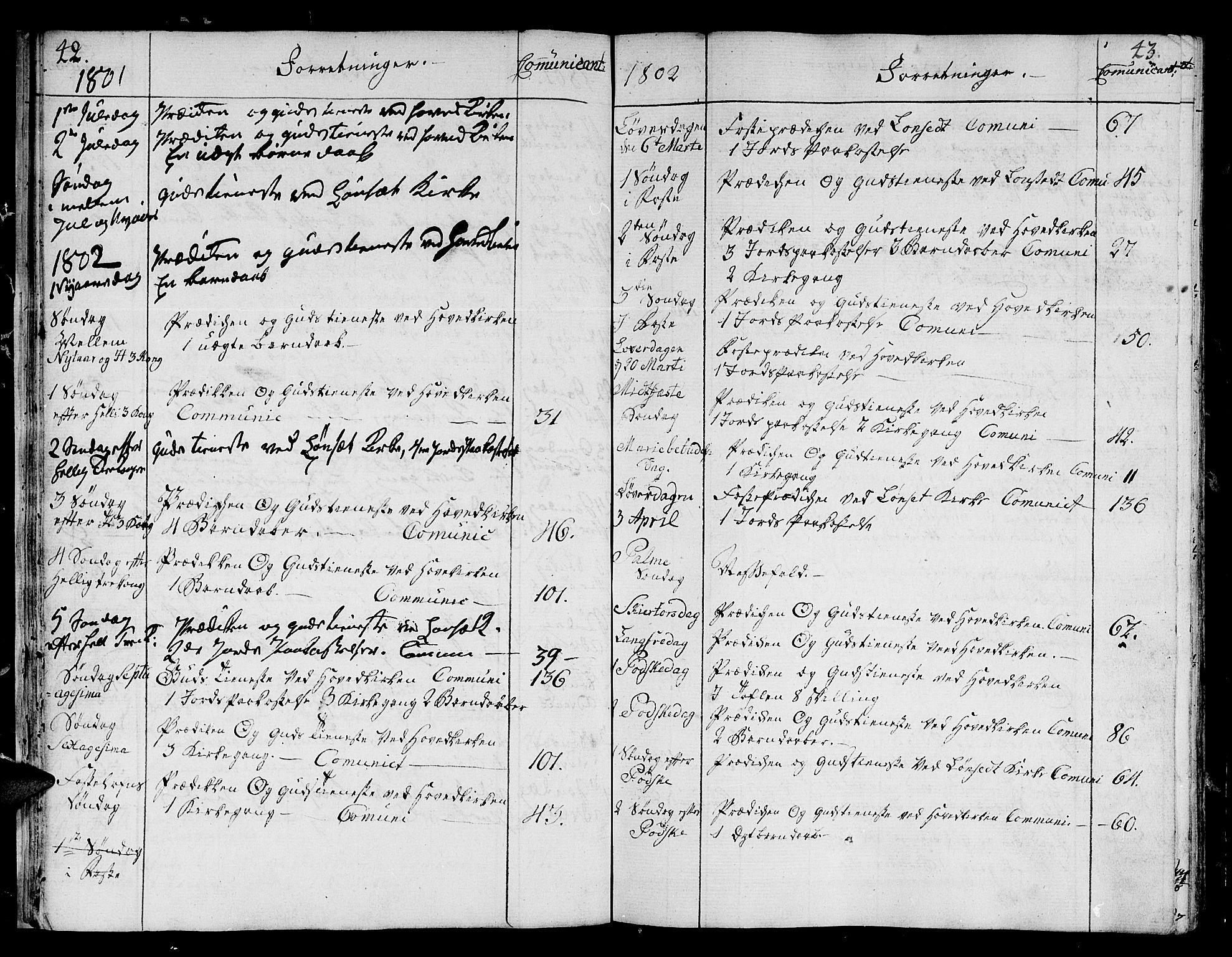 SAT, Ministerialprotokoller, klokkerbøker og fødselsregistre - Sør-Trøndelag, 678/L0893: Ministerialbok nr. 678A03, 1792-1805, s. 42-43