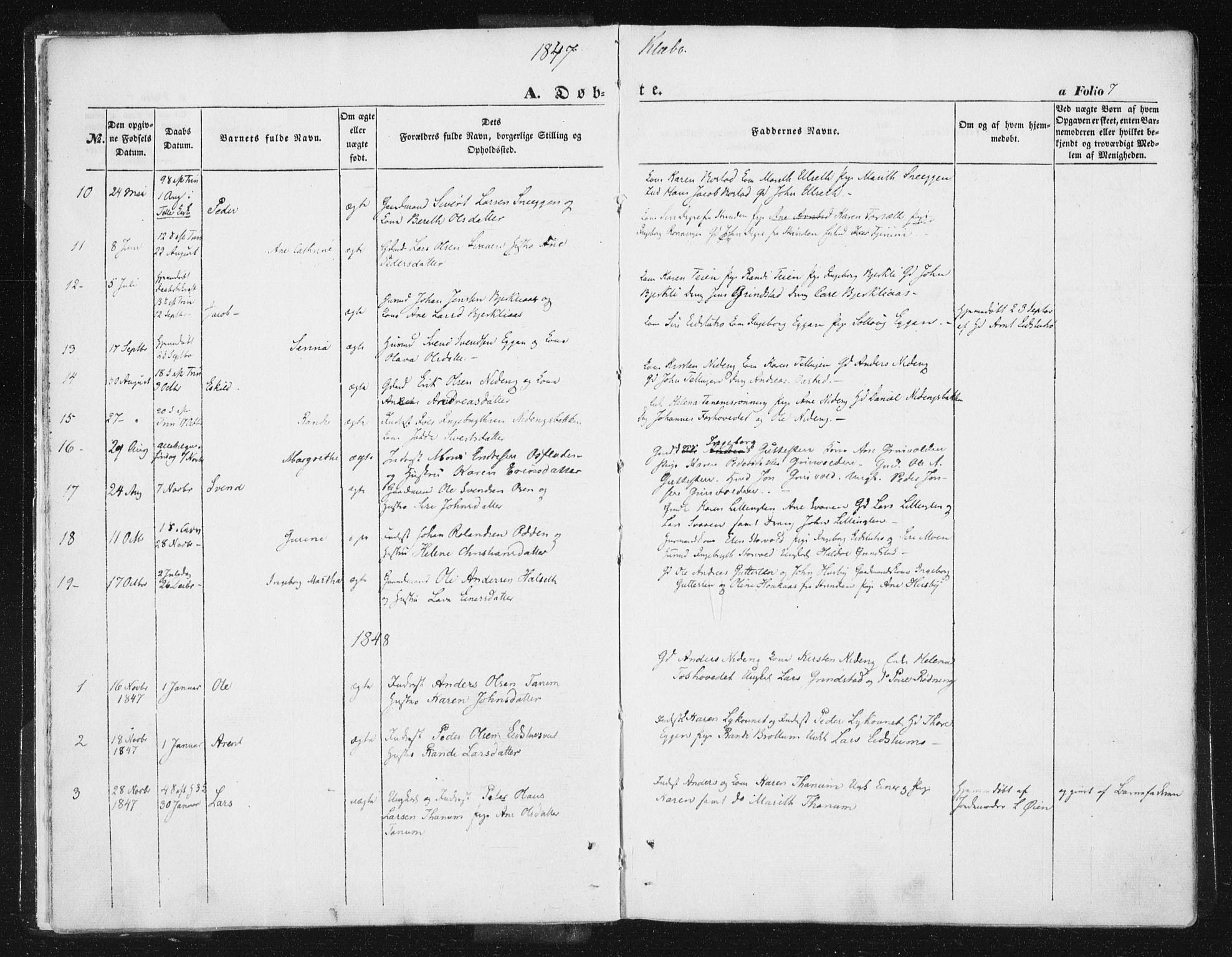 SAT, Ministerialprotokoller, klokkerbøker og fødselsregistre - Sør-Trøndelag, 618/L0441: Ministerialbok nr. 618A05, 1843-1862, s. 7