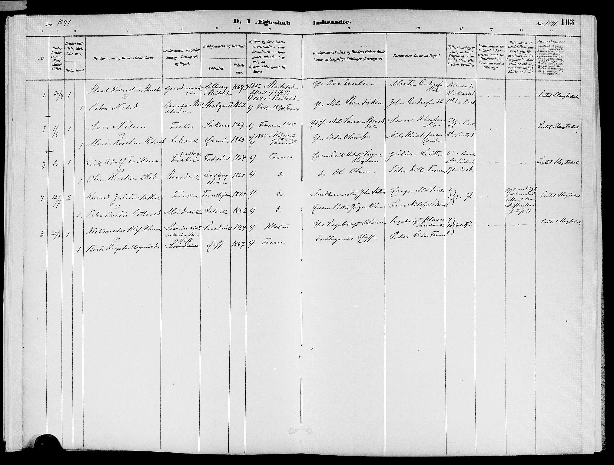 SAT, Ministerialprotokoller, klokkerbøker og fødselsregistre - Nord-Trøndelag, 773/L0617: Ministerialbok nr. 773A08, 1887-1910, s. 163