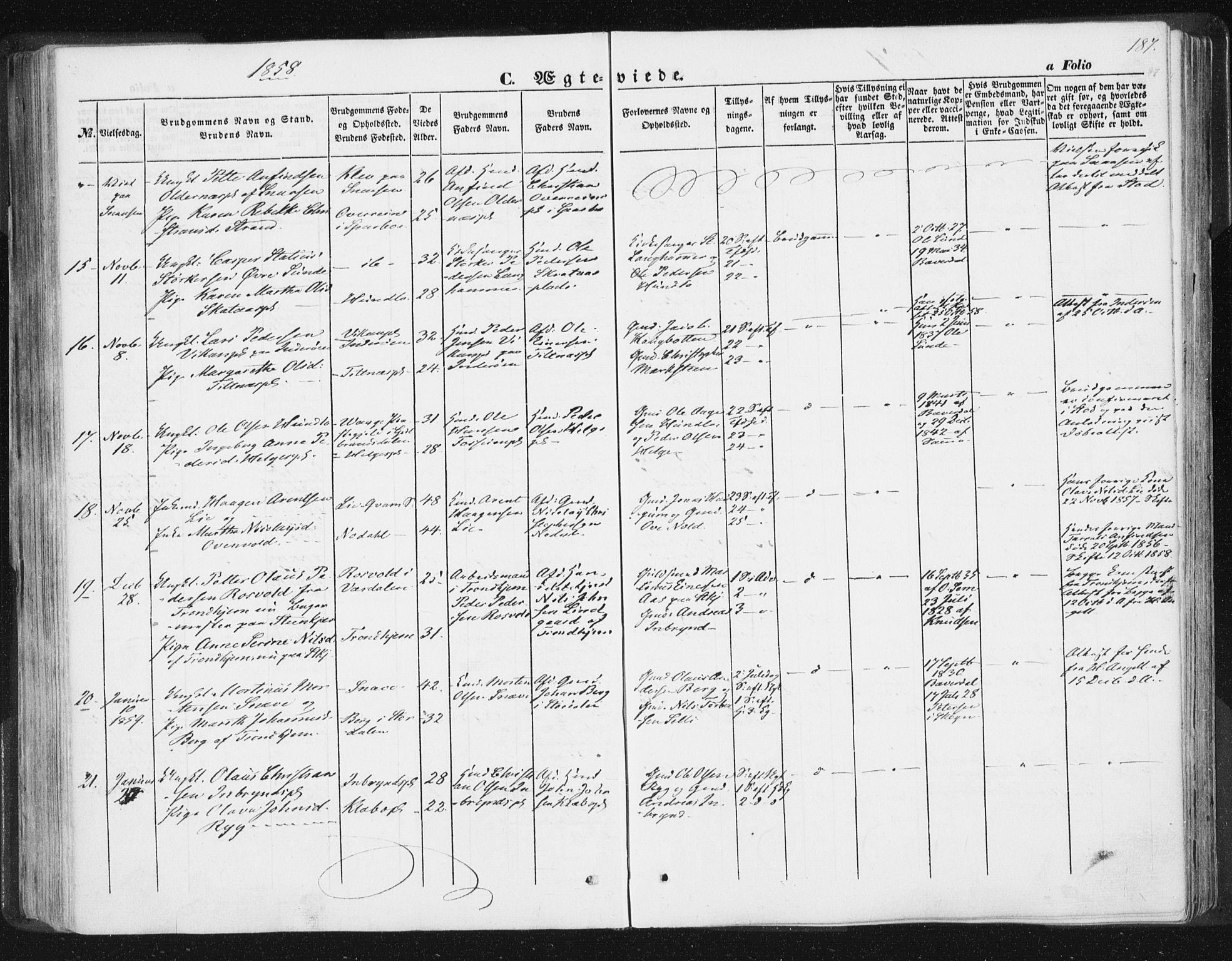 SAT, Ministerialprotokoller, klokkerbøker og fødselsregistre - Nord-Trøndelag, 746/L0446: Ministerialbok nr. 746A05, 1846-1859, s. 187