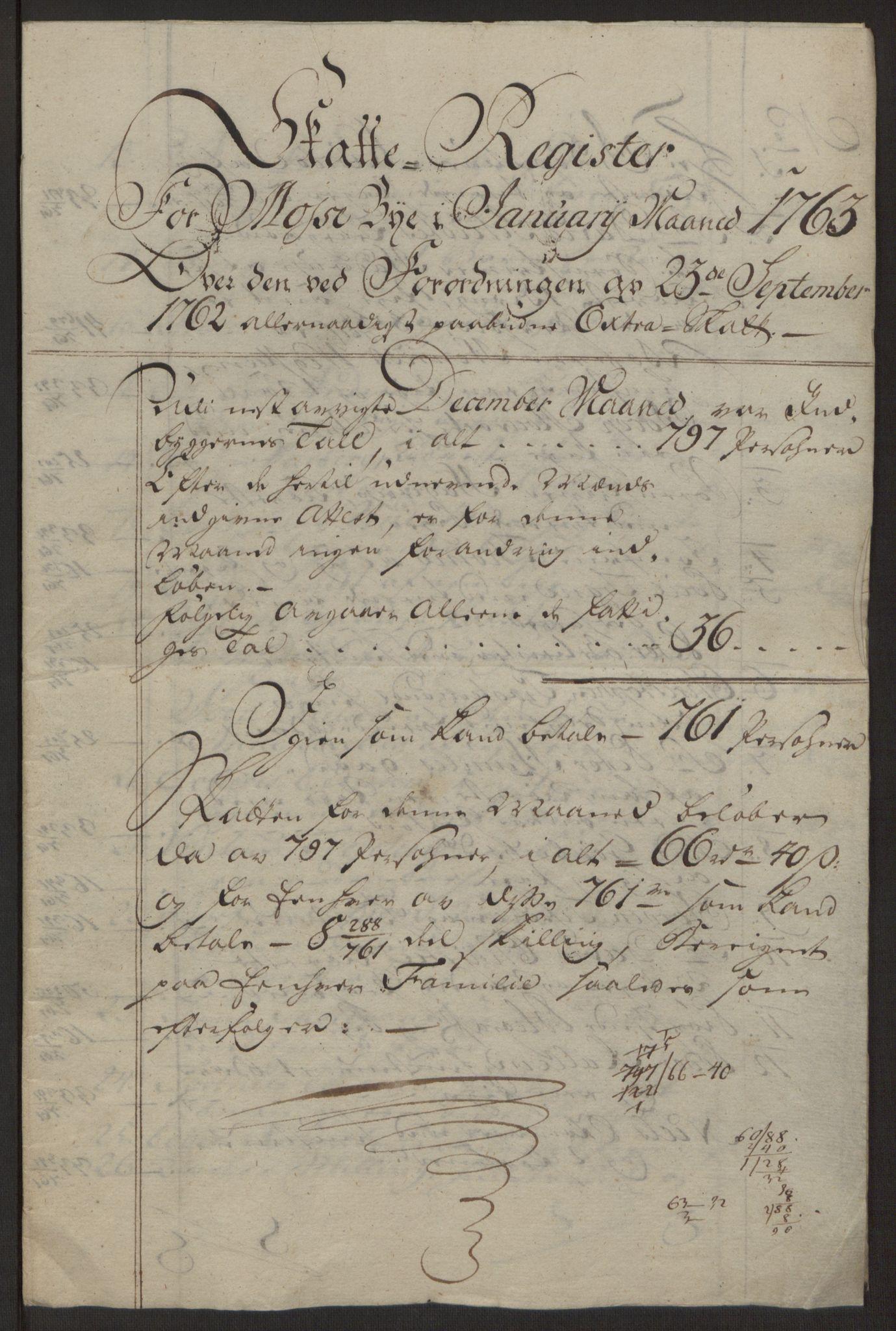 RA, Rentekammeret inntil 1814, Reviderte regnskaper, Byregnskaper, R/Rc/L0042: [C1] Kontribusjonsregnskap, 1762-1765, s. 59