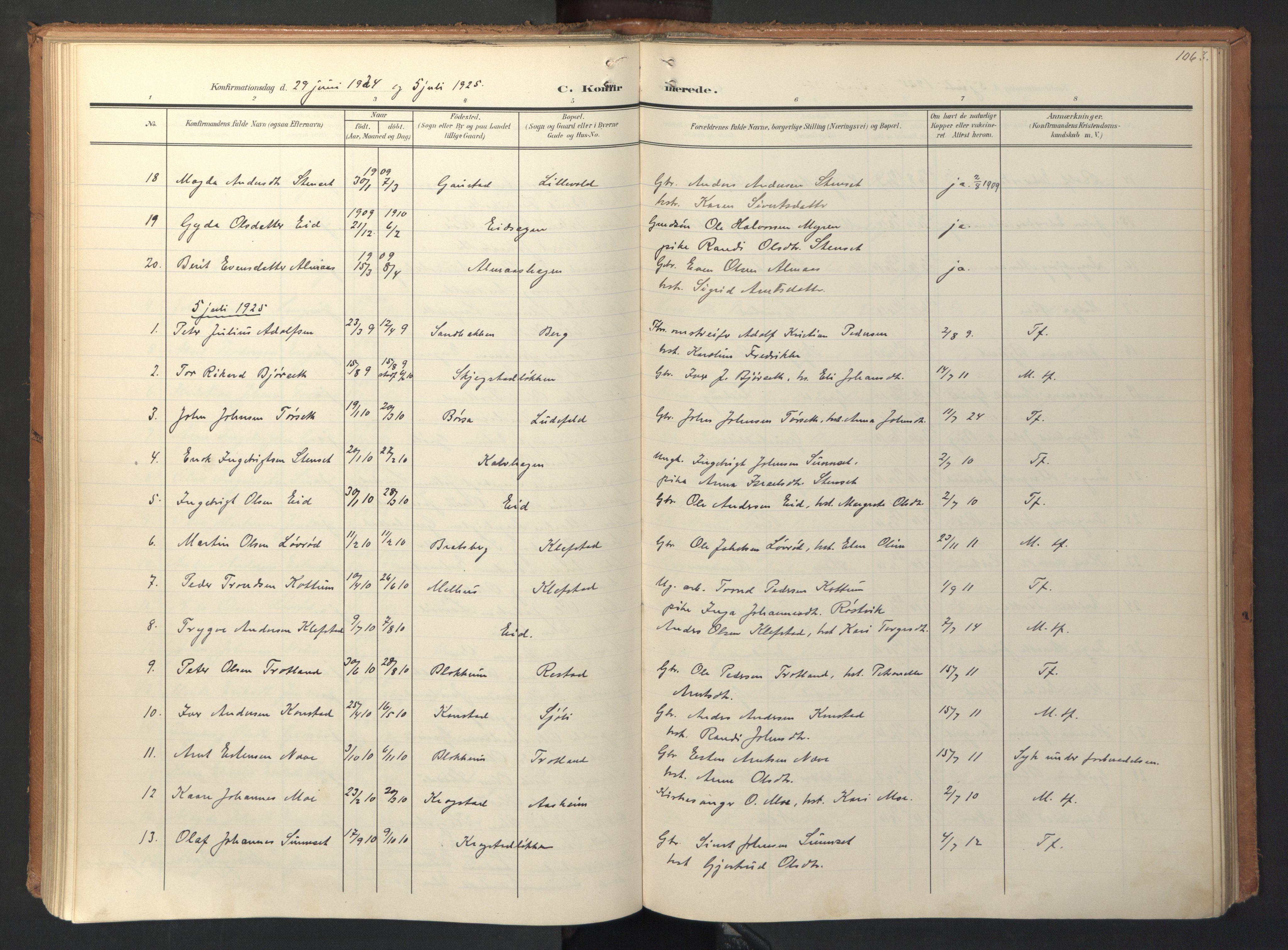 SAT, Ministerialprotokoller, klokkerbøker og fødselsregistre - Sør-Trøndelag, 694/L1128: Ministerialbok nr. 694A02, 1906-1931, s. 106
