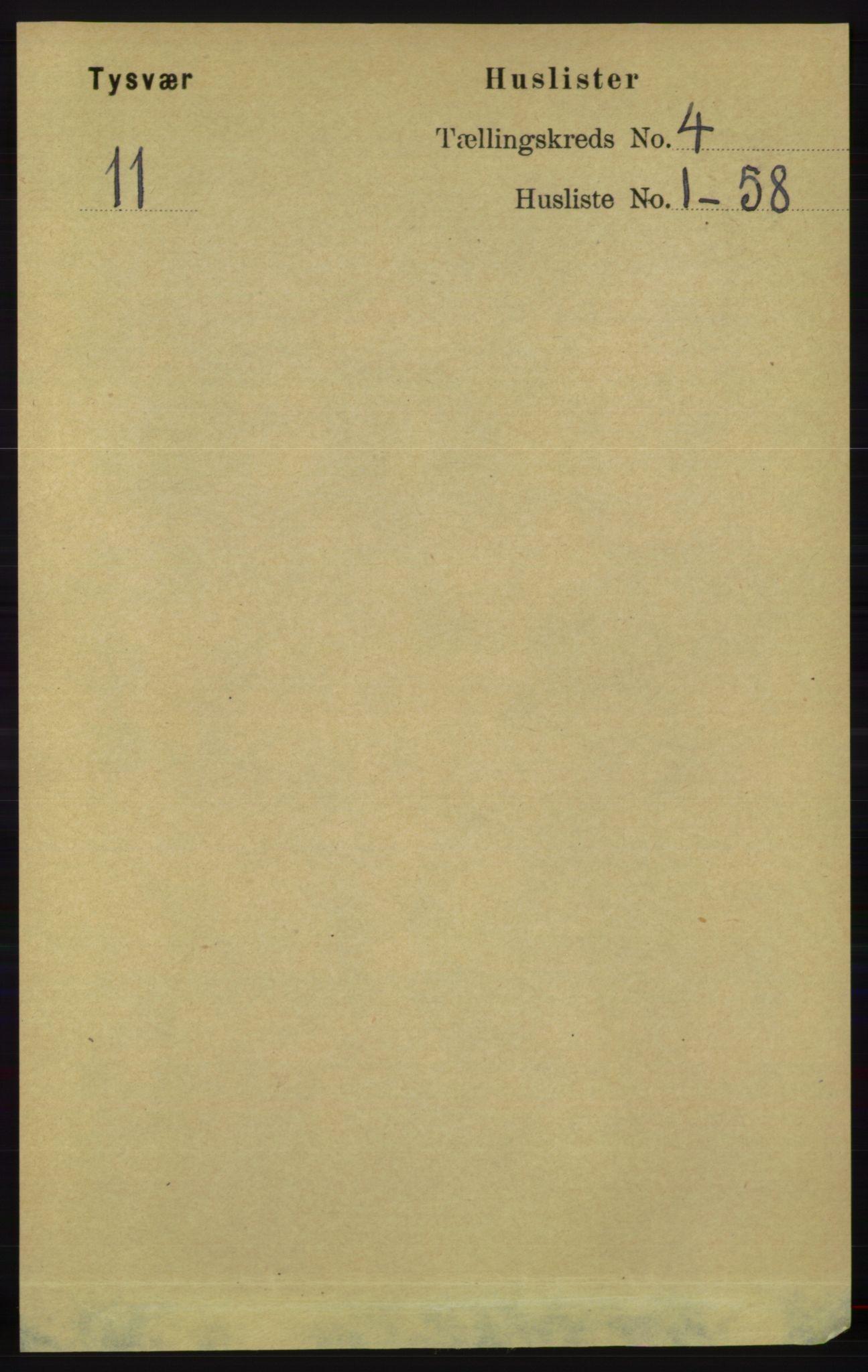 RA, Folketelling 1891 for 1146 Tysvær herred, 1891, s. 1450