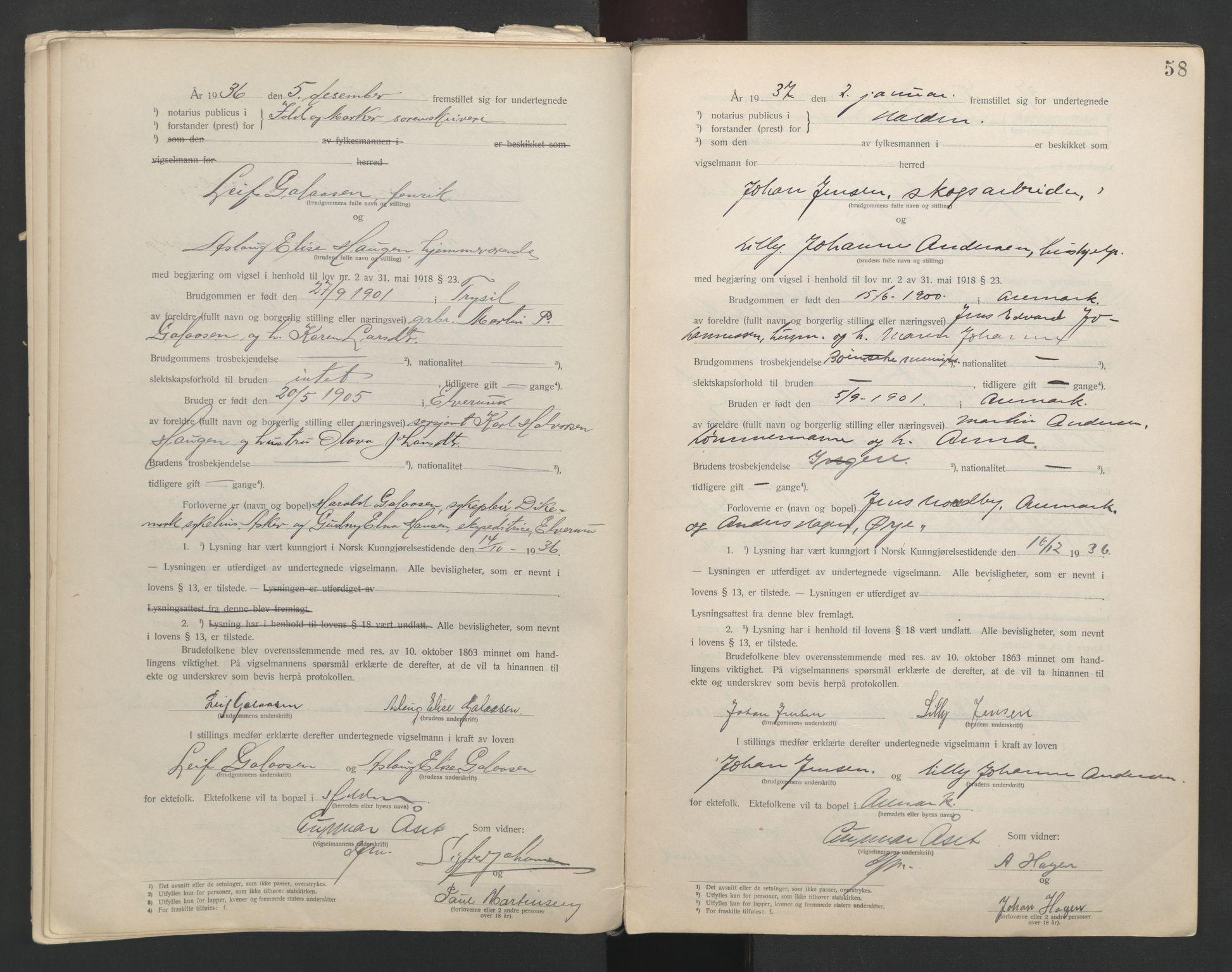 SAO, Idd og Marker sorenskriveri, L/Lc/L0001: Vigselsbøker, 1920-1942, s. 58