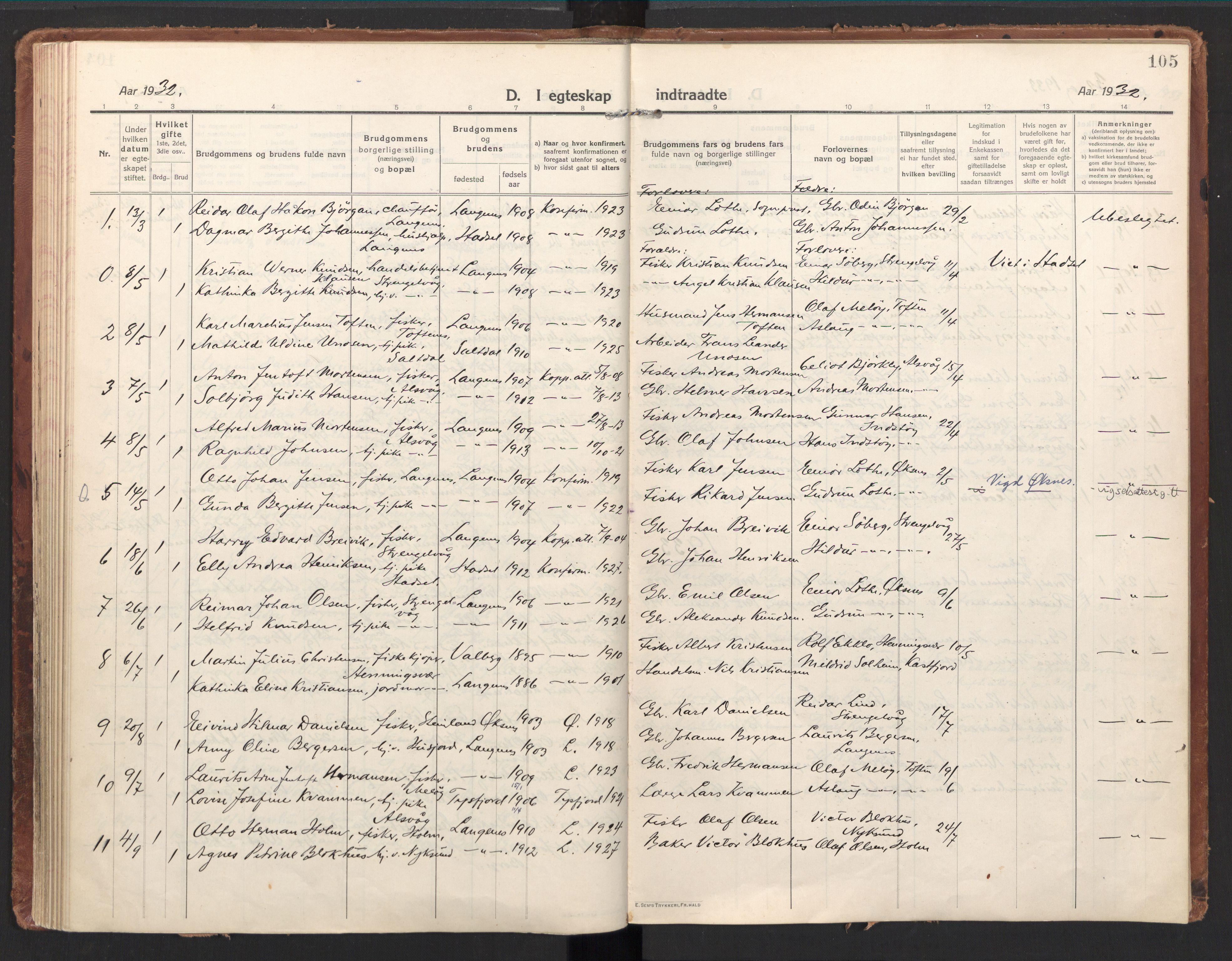 SAT, Ministerialprotokoller, klokkerbøker og fødselsregistre - Nordland, 894/L1357: Ministerialbok nr. 894A03, 1913-1934, s. 105