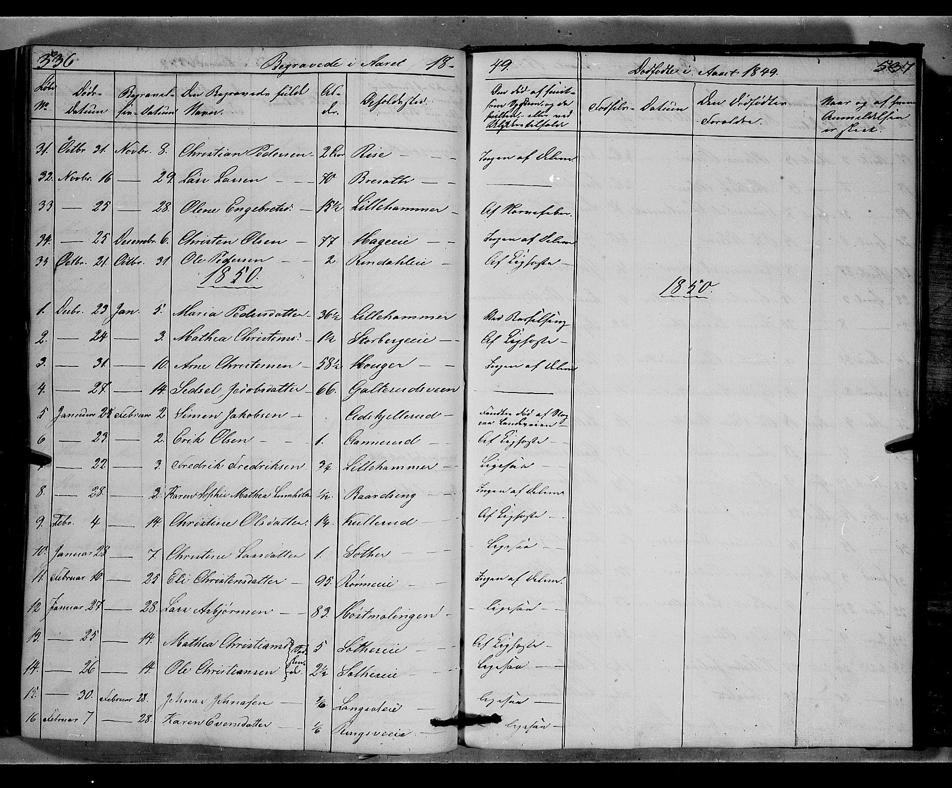 SAH, Fåberg prestekontor, Klokkerbok nr. 6, 1837-1855, s. 536-537