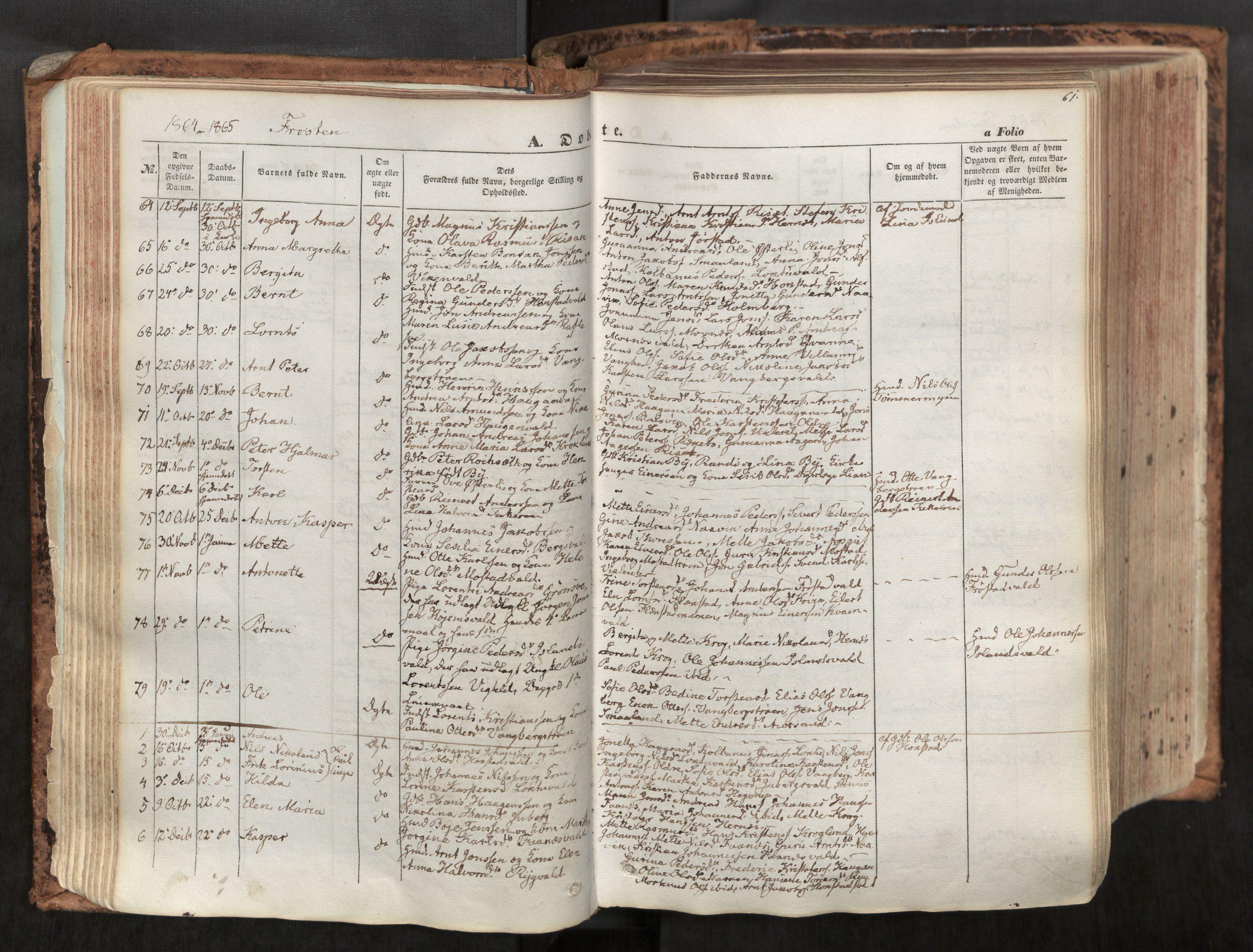 SAT, Ministerialprotokoller, klokkerbøker og fødselsregistre - Nord-Trøndelag, 713/L0116: Ministerialbok nr. 713A07, 1850-1877, s. 61