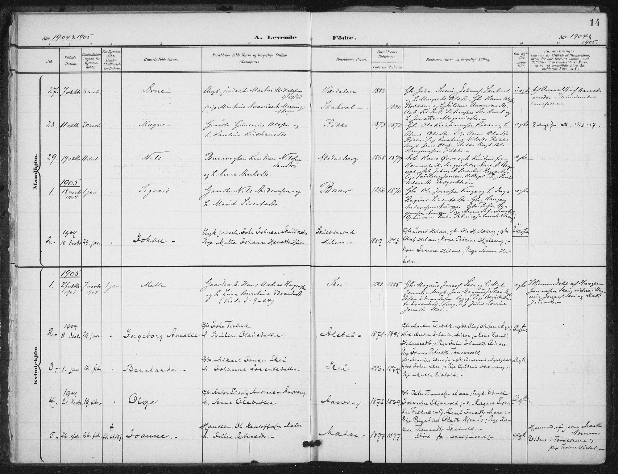 SAT, Ministerialprotokoller, klokkerbøker og fødselsregistre - Nord-Trøndelag, 712/L0101: Ministerialbok nr. 712A02, 1901-1916, s. 14