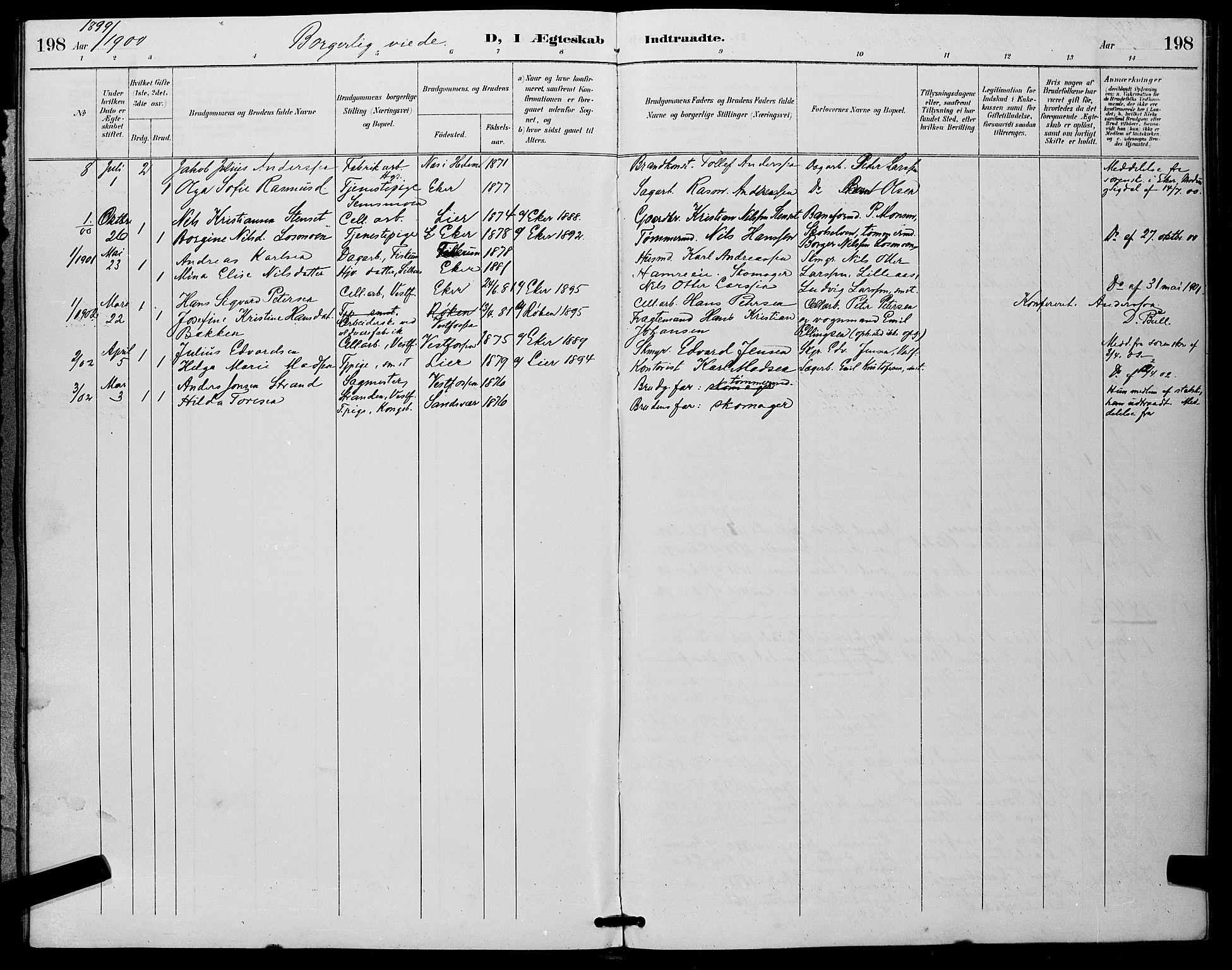 SAKO, Eiker kirkebøker, G/Ga/L0007: Klokkerbok nr. I 7, 1893-1902, s. 198