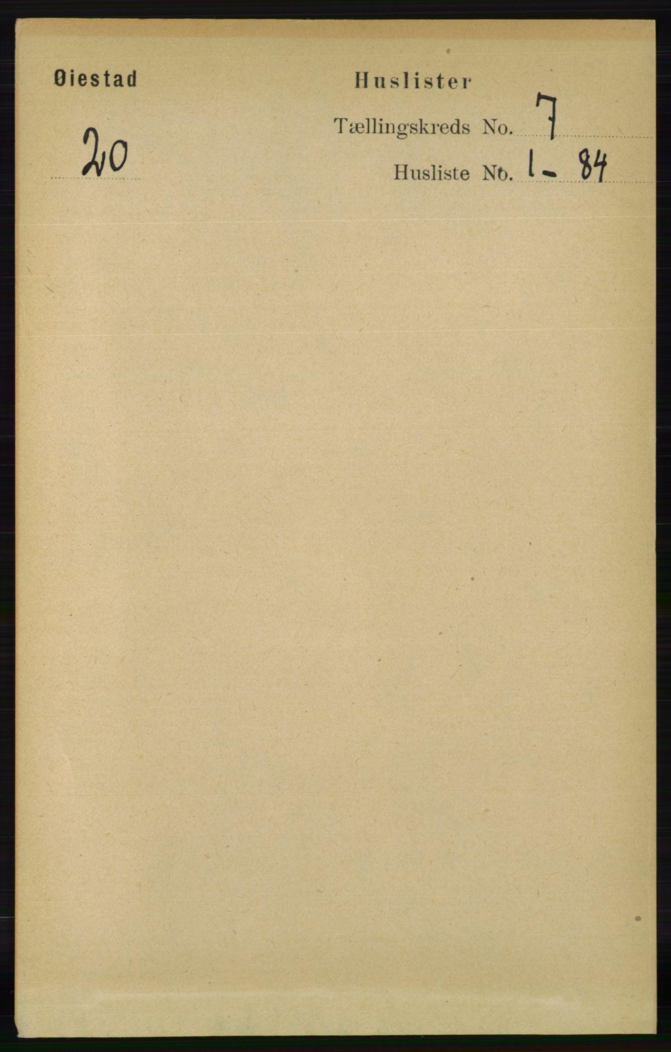 RA, Folketelling 1891 for 0920 Øyestad herred, 1891, s. 2566