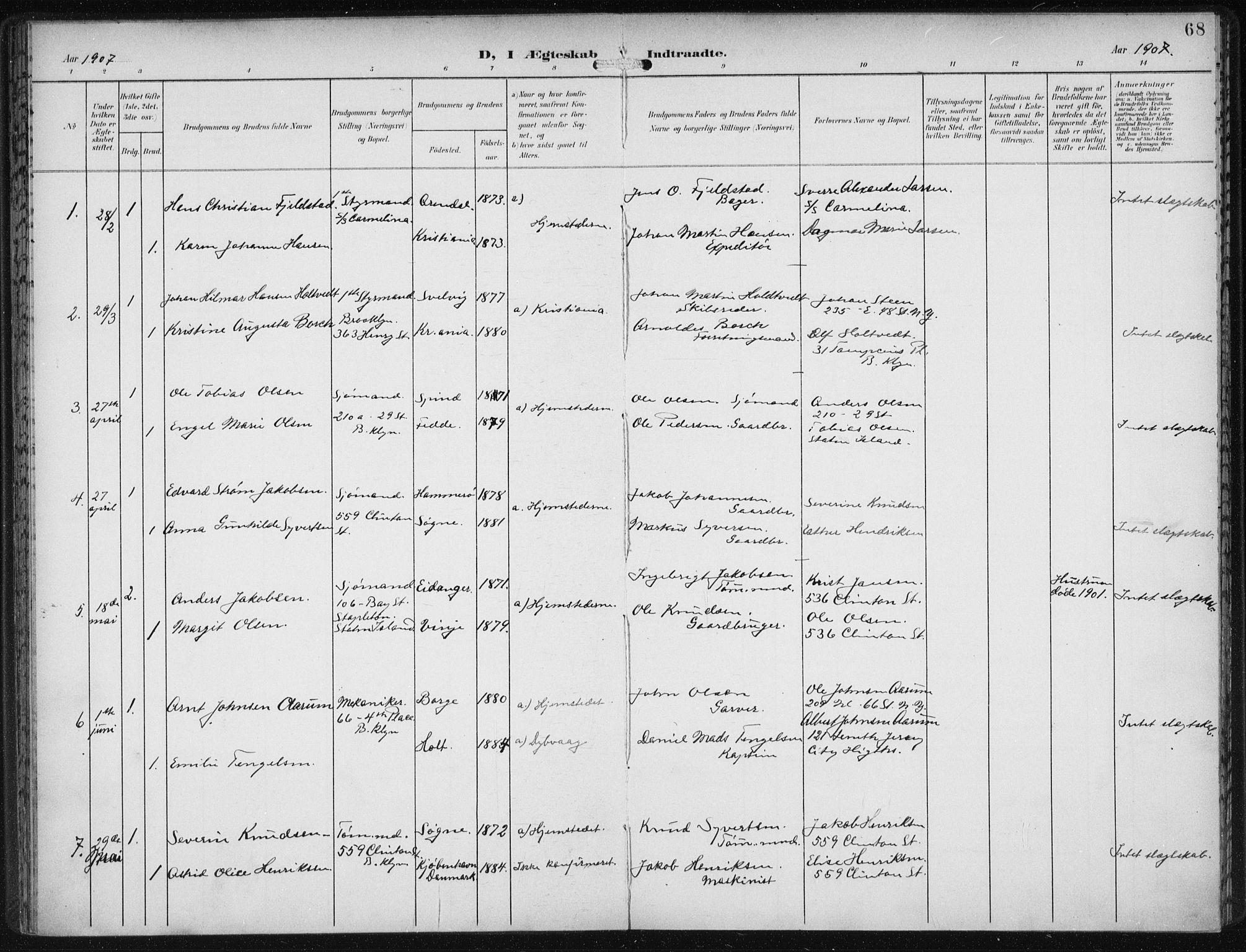 SAB, Den Norske Sjømannsmisjon i utlandet*, Ministerialbok nr. A 5, 1902-1908, s. 68
