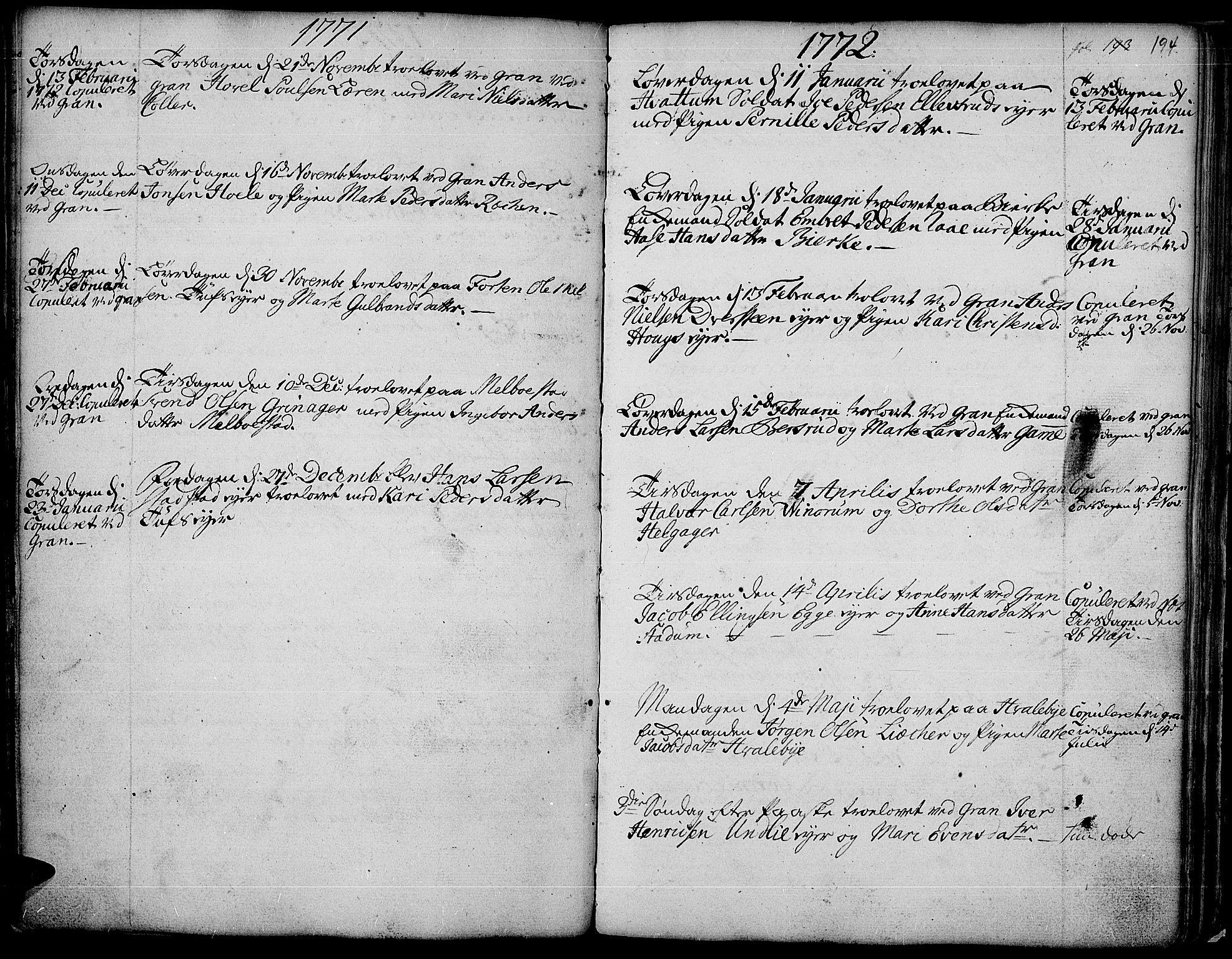 SAH, Gran prestekontor, Ministerialbok nr. 4, 1759-1775, s. 194