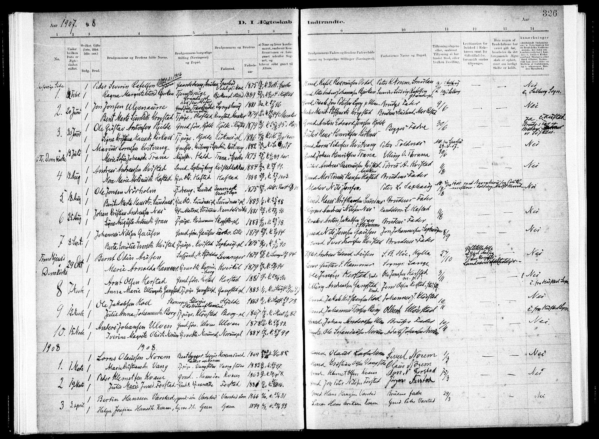 SAT, Ministerialprotokoller, klokkerbøker og fødselsregistre - Nord-Trøndelag, 730/L0285: Ministerialbok nr. 730A10, 1879-1914, s. 326