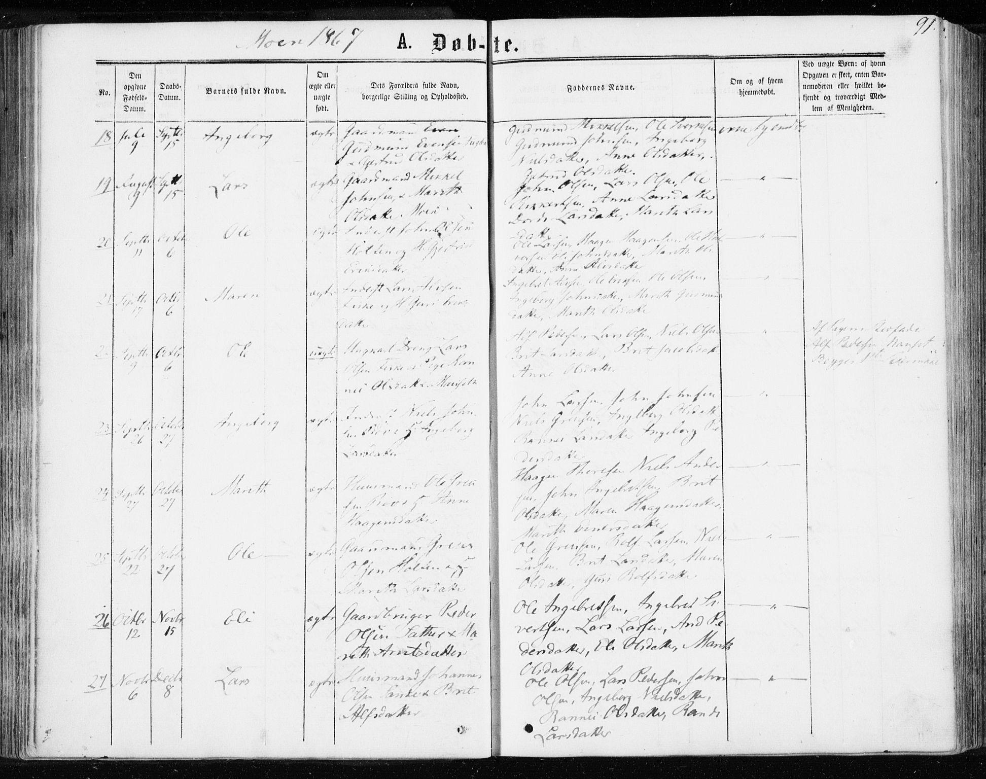 SAT, Ministerialprotokoller, klokkerbøker og fødselsregistre - Møre og Romsdal, 595/L1045: Ministerialbok nr. 595A07, 1863-1873, s. 91