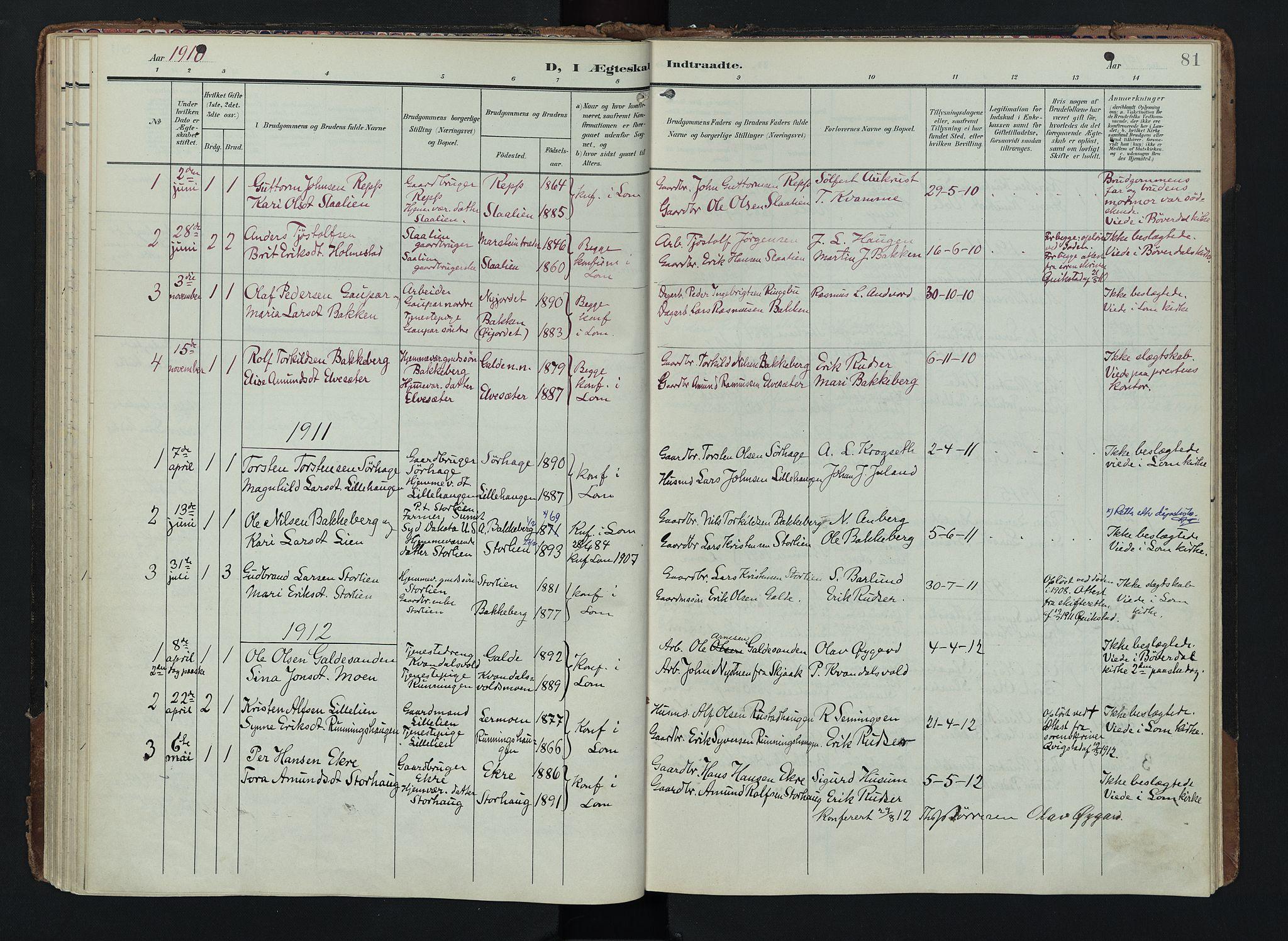 SAH, Lom prestekontor, K/L0012: Ministerialbok nr. 12, 1904-1928, s. 81