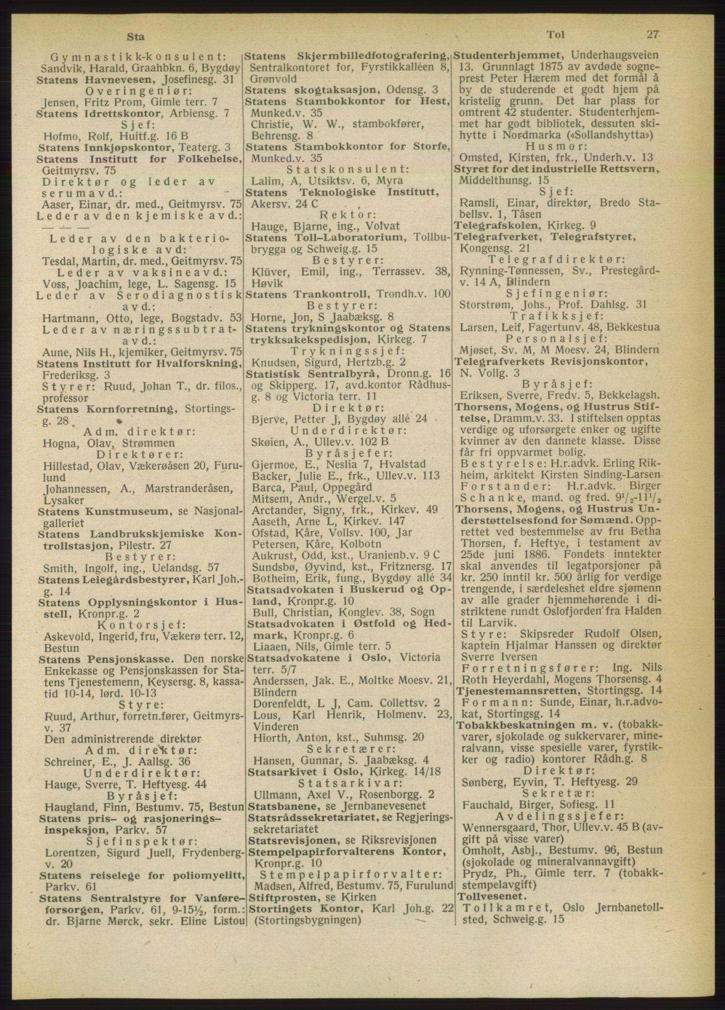 RA, Oslo adressebok (publikasjon)*, 1949, s. 27