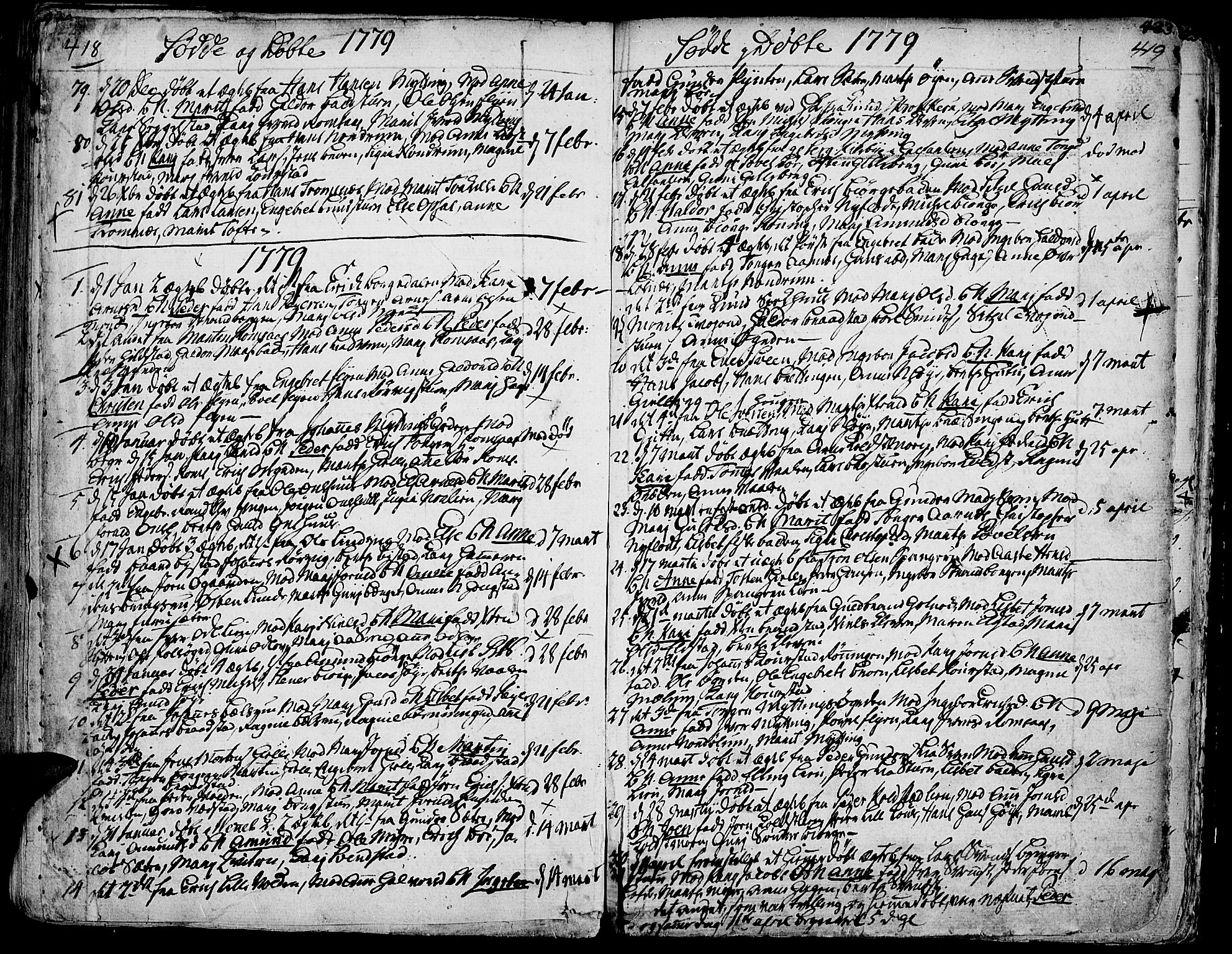 SAH, Ringebu prestekontor, Ministerialbok nr. 2, 1734-1780, s. 418-419