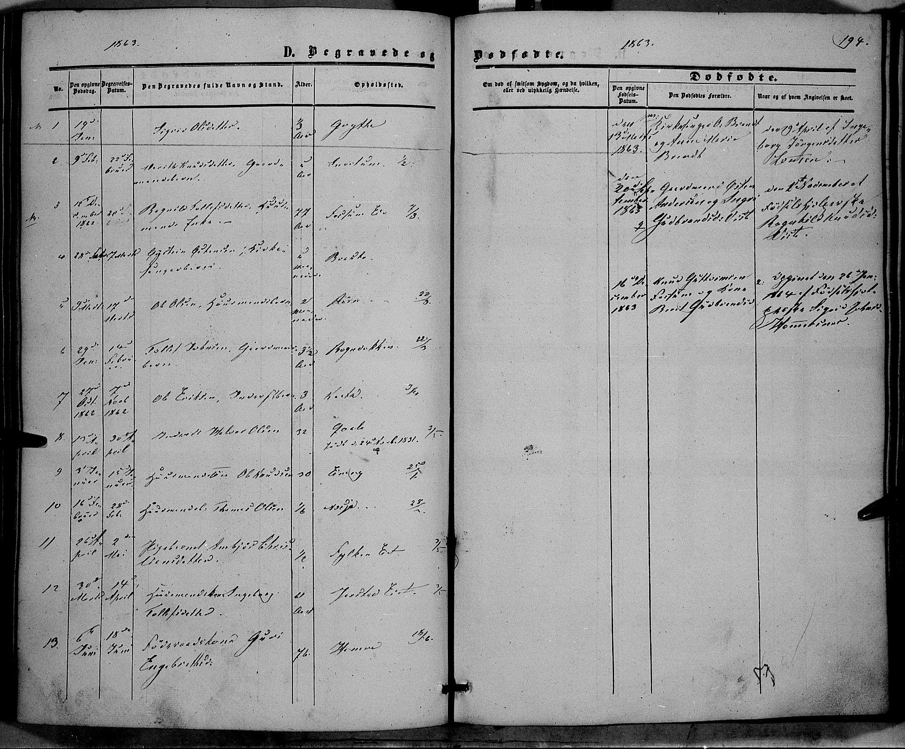 SAH, Vestre Slidre prestekontor, Ministerialbok nr. 2, 1856-1864, s. 194