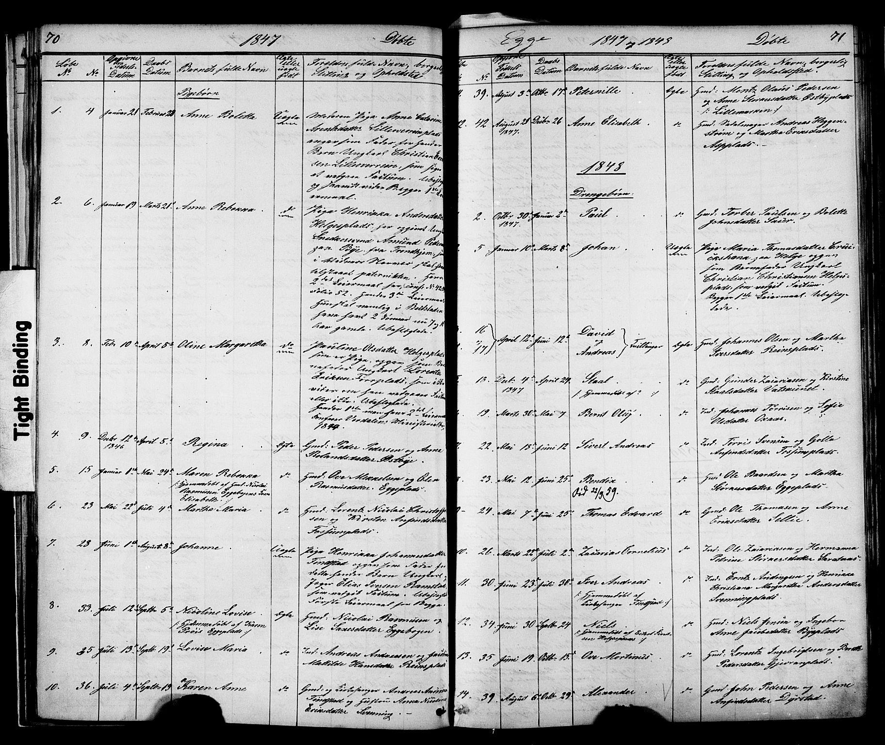 SAT, Ministerialprotokoller, klokkerbøker og fødselsregistre - Nord-Trøndelag, 739/L0367: Ministerialbok nr. 739A01 /3, 1838-1868, s. 70-71