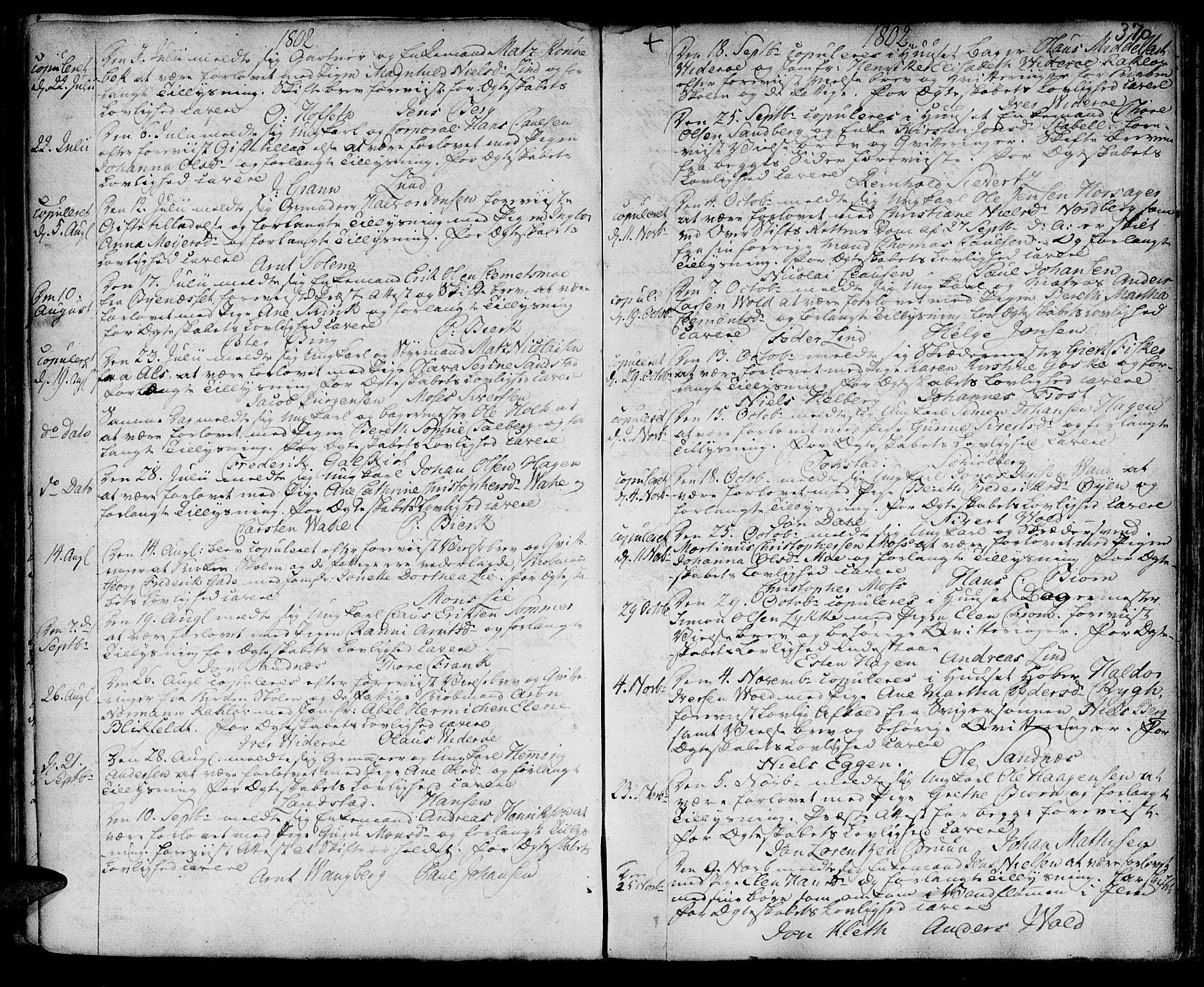 SAT, Ministerialprotokoller, klokkerbøker og fødselsregistre - Sør-Trøndelag, 601/L0038: Ministerialbok nr. 601A06, 1766-1877, s. 370