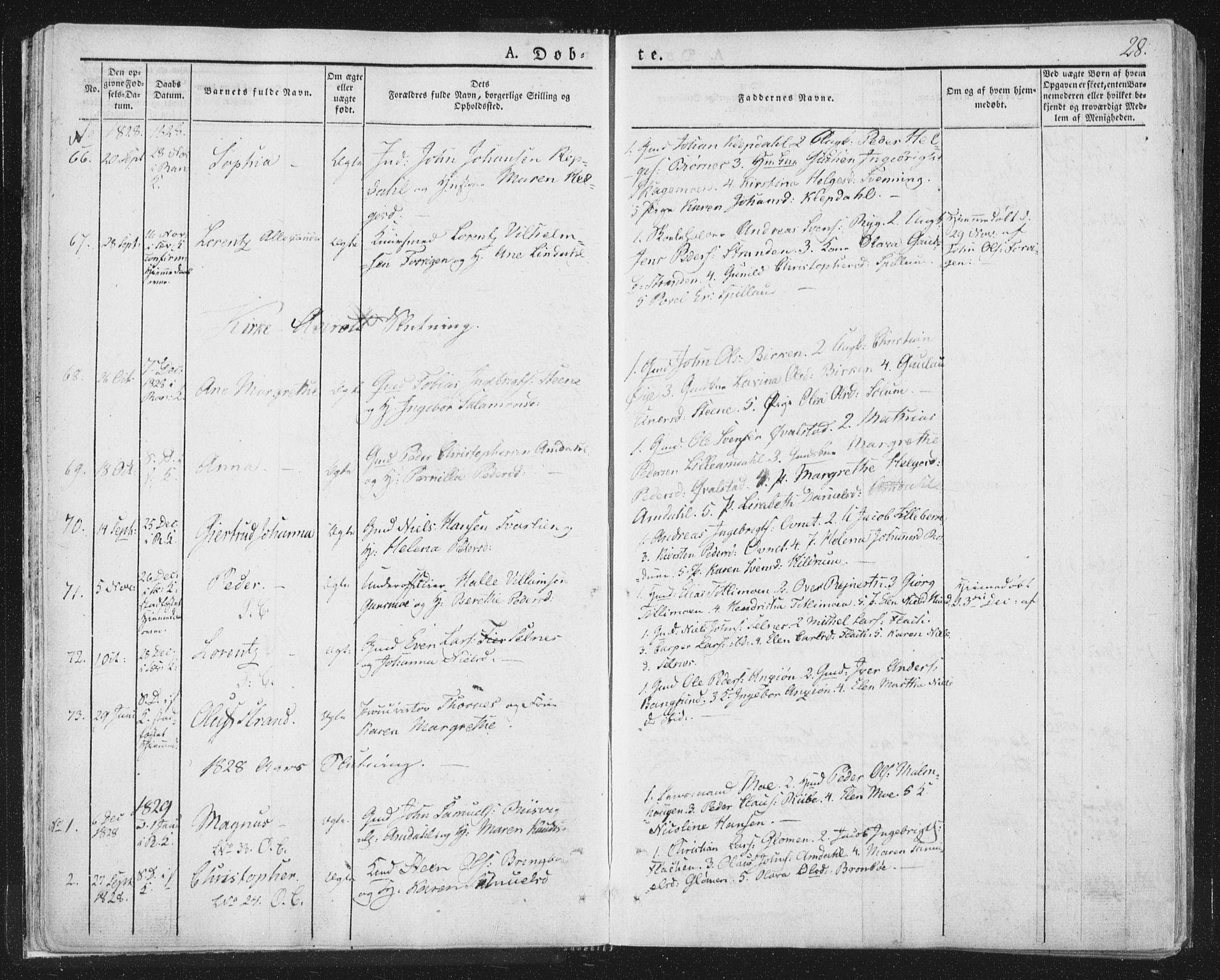 SAT, Ministerialprotokoller, klokkerbøker og fødselsregistre - Nord-Trøndelag, 764/L0551: Ministerialbok nr. 764A07a, 1824-1864, s. 28