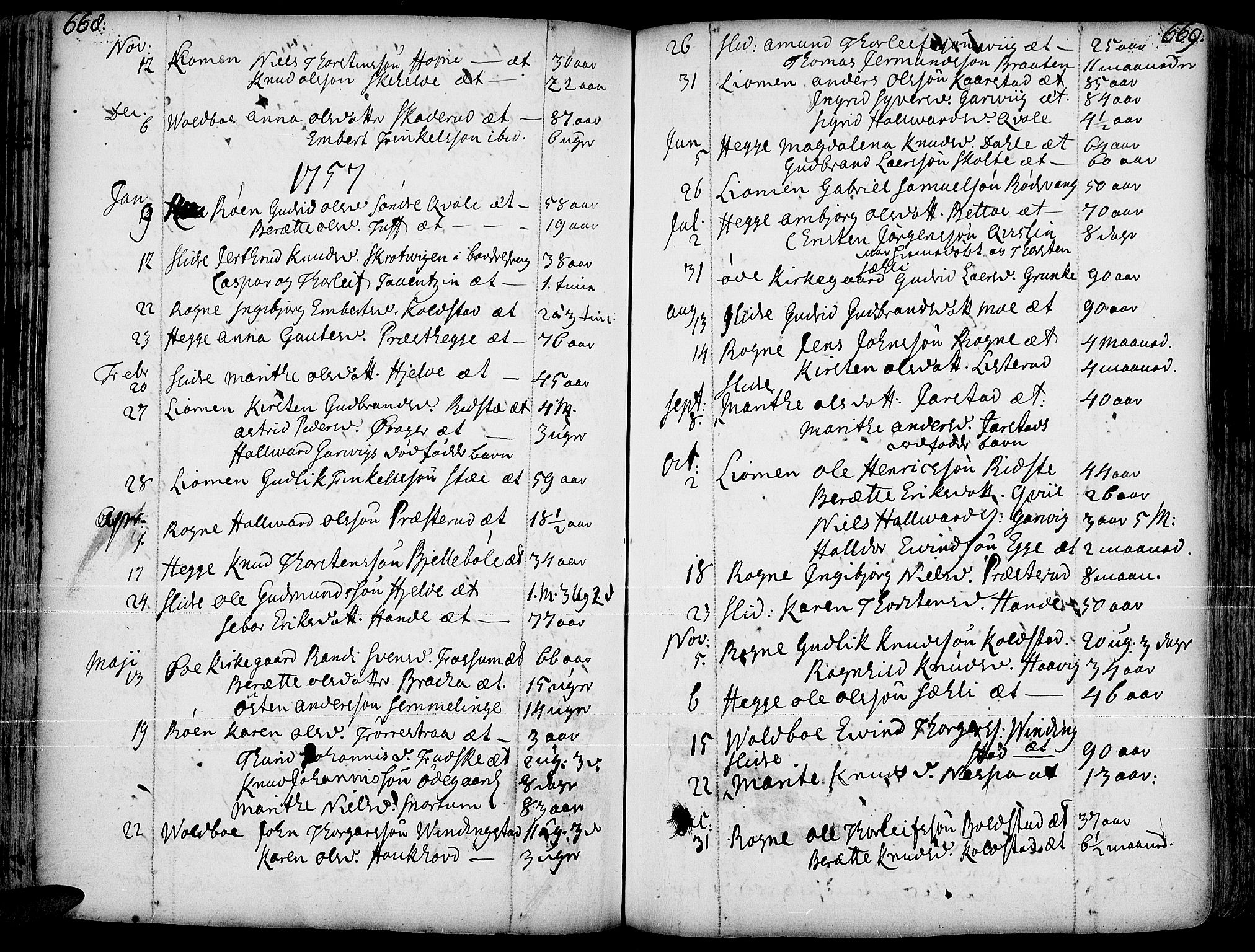 SAH, Slidre prestekontor, Ministerialbok nr. 1, 1724-1814, s. 668-669