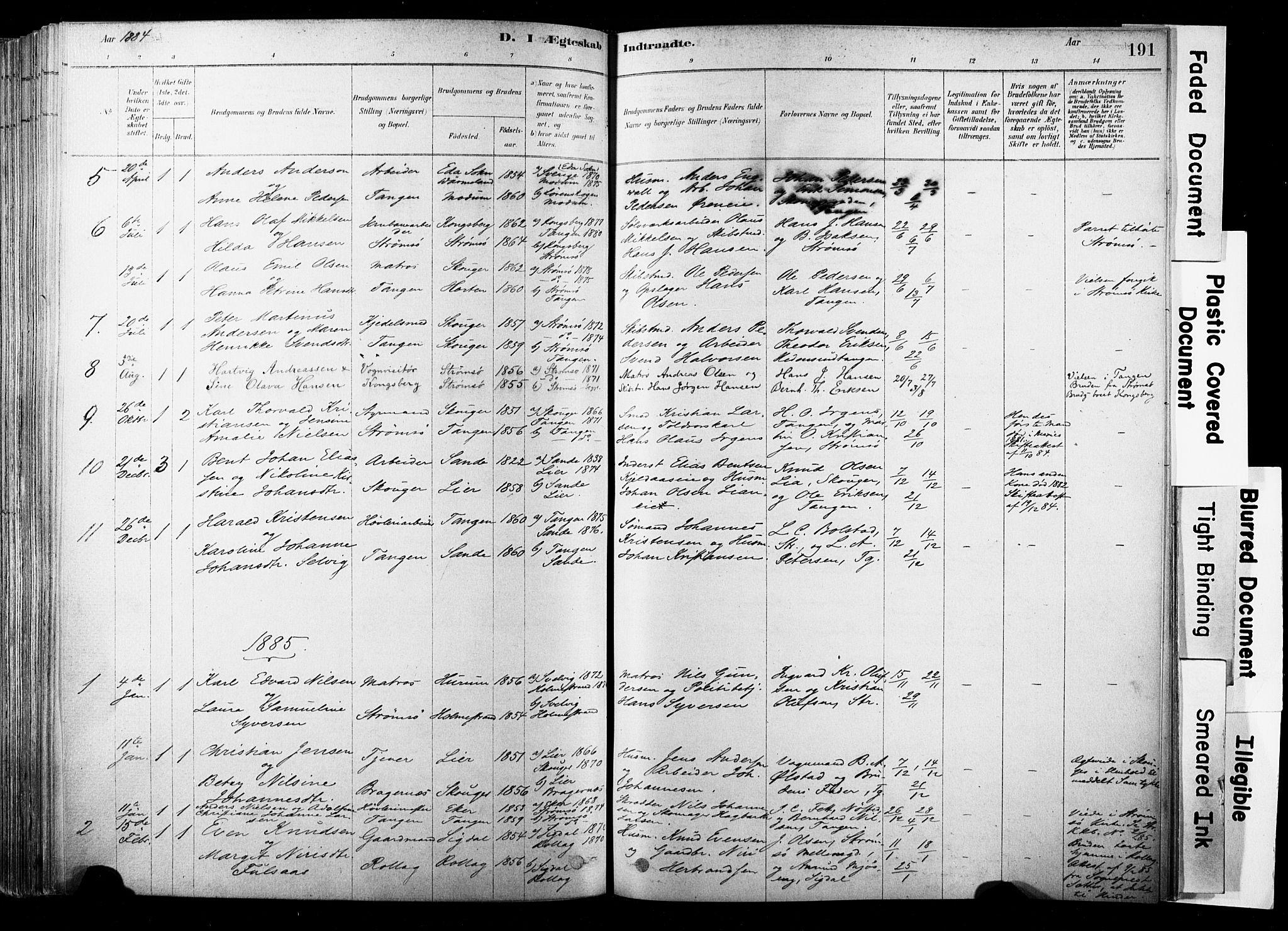 SAKO, Strømsø kirkebøker, F/Fb/L0006: Ministerialbok nr. II 6, 1879-1910, s. 191