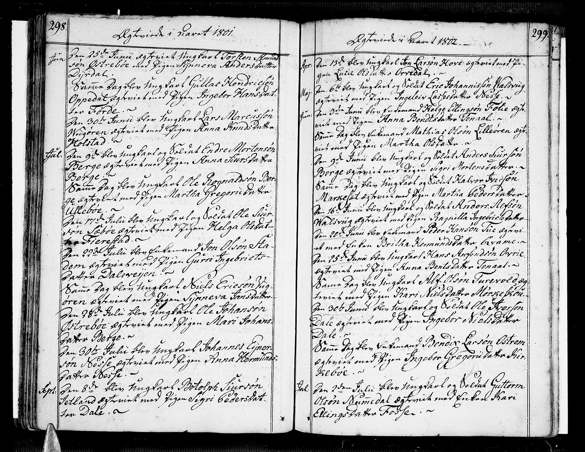 SAB, Vik Sokneprestembete, Ministerialbok nr. A 5, 1787-1820, s. 298-299