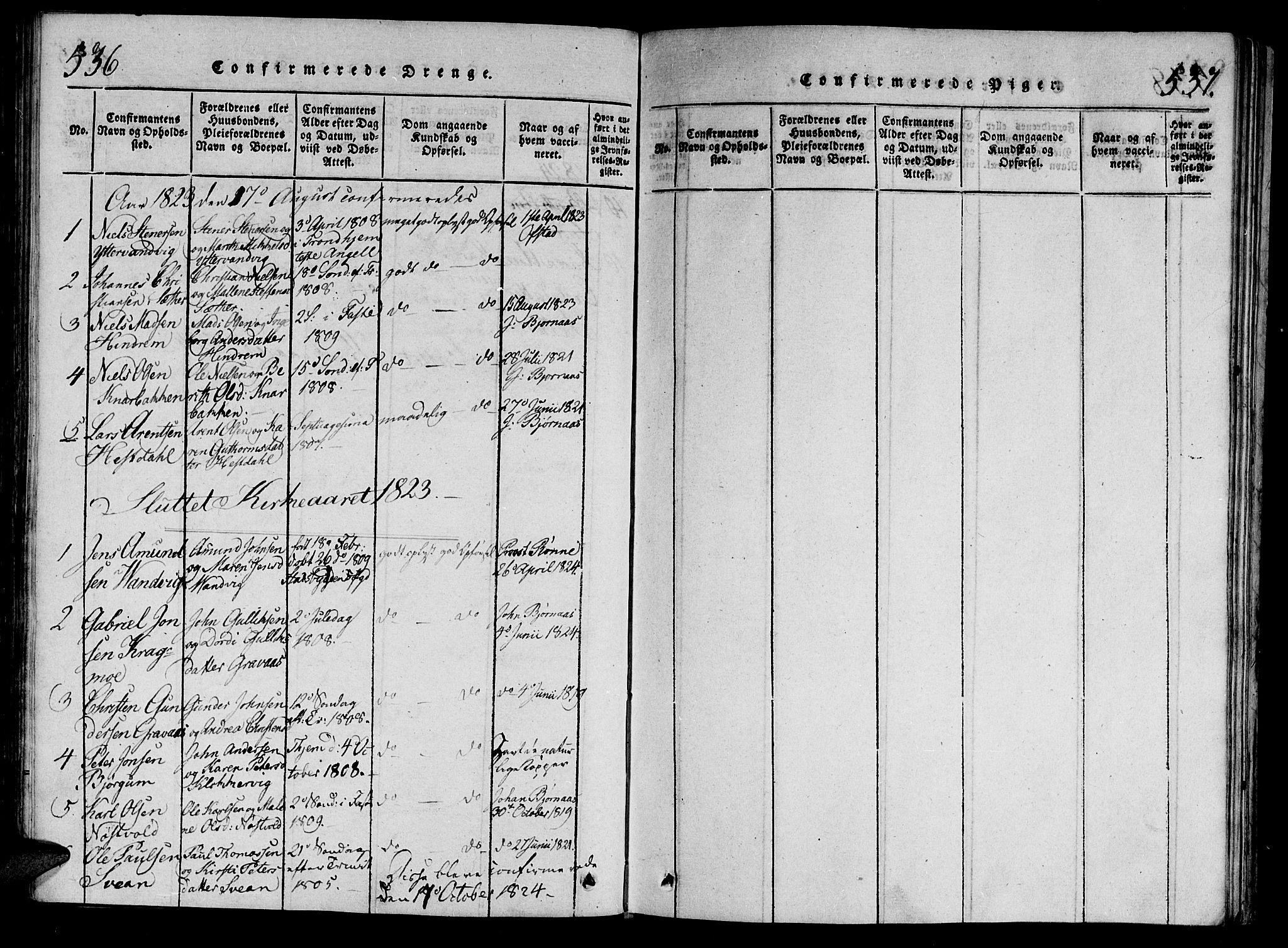 SAT, Ministerialprotokoller, klokkerbøker og fødselsregistre - Nord-Trøndelag, 701/L0005: Ministerialbok nr. 701A05 /2, 1816-1825, s. 536-537