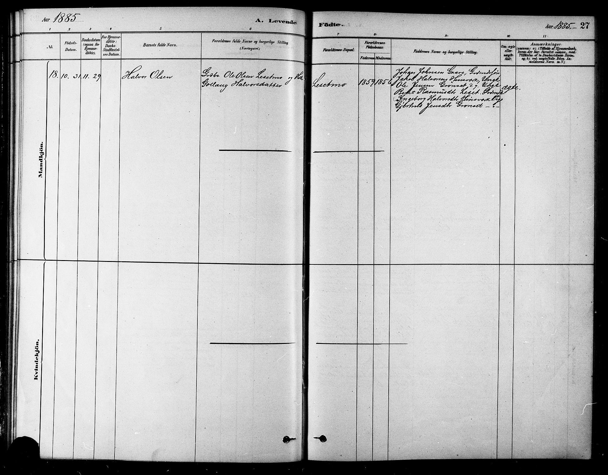 SAT, Ministerialprotokoller, klokkerbøker og fødselsregistre - Sør-Trøndelag, 685/L0972: Ministerialbok nr. 685A09, 1879-1890, s. 27