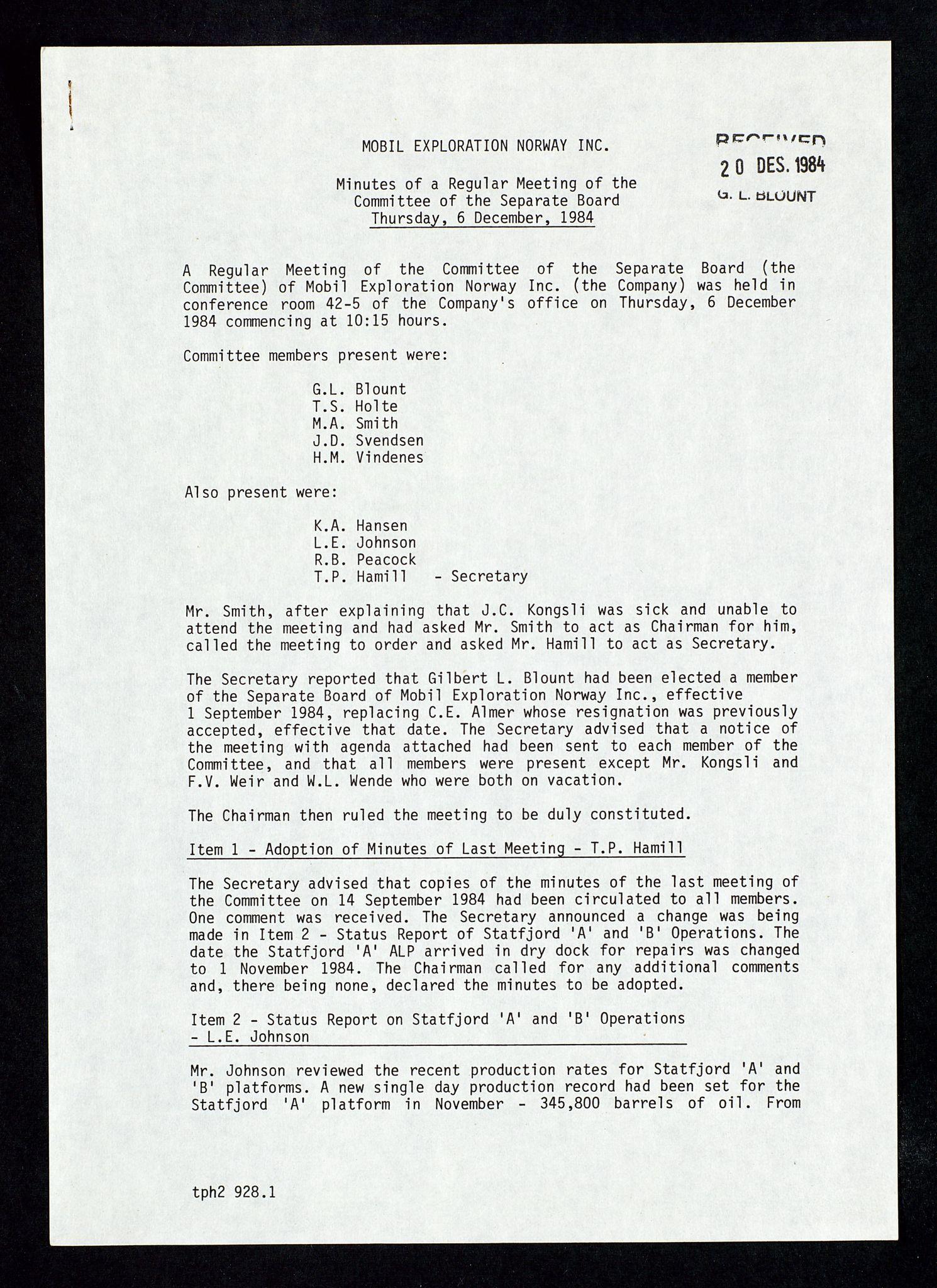 SAST, Pa 1578 - Mobil Exploration Norway Incorporated, D/Da/L0168: Sak og korrespondanse og styremøter, 1973-1986, s. 203