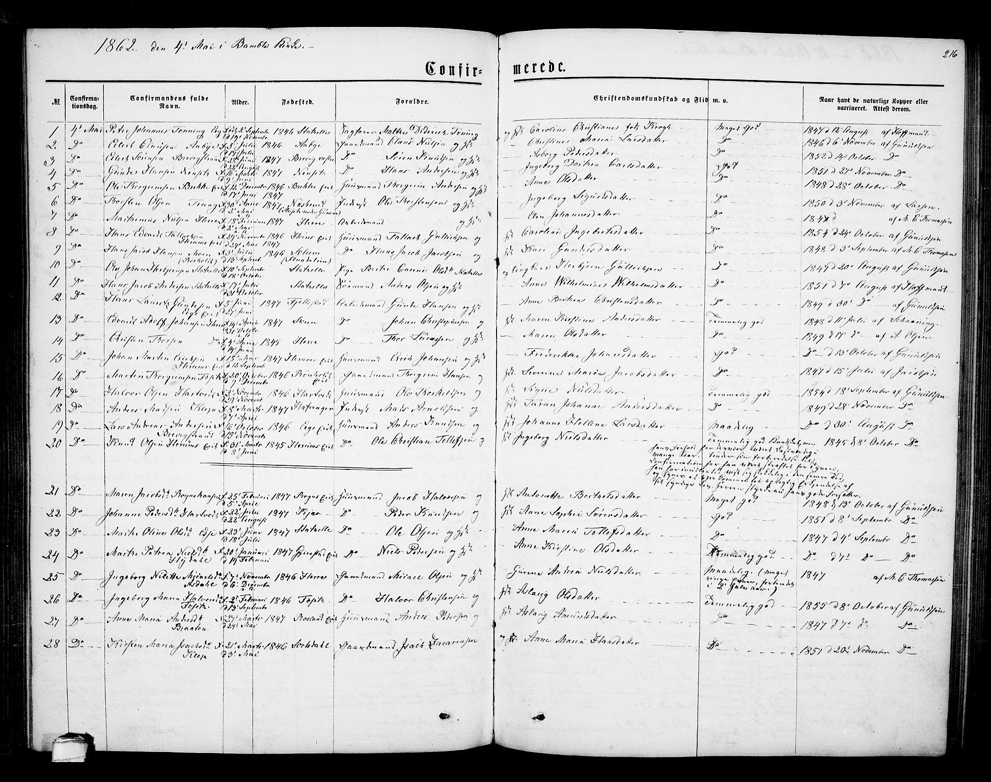 SAKO, Bamble kirkebøker, G/Ga/L0006: Klokkerbok nr. I 6, 1860-1876, s. 216