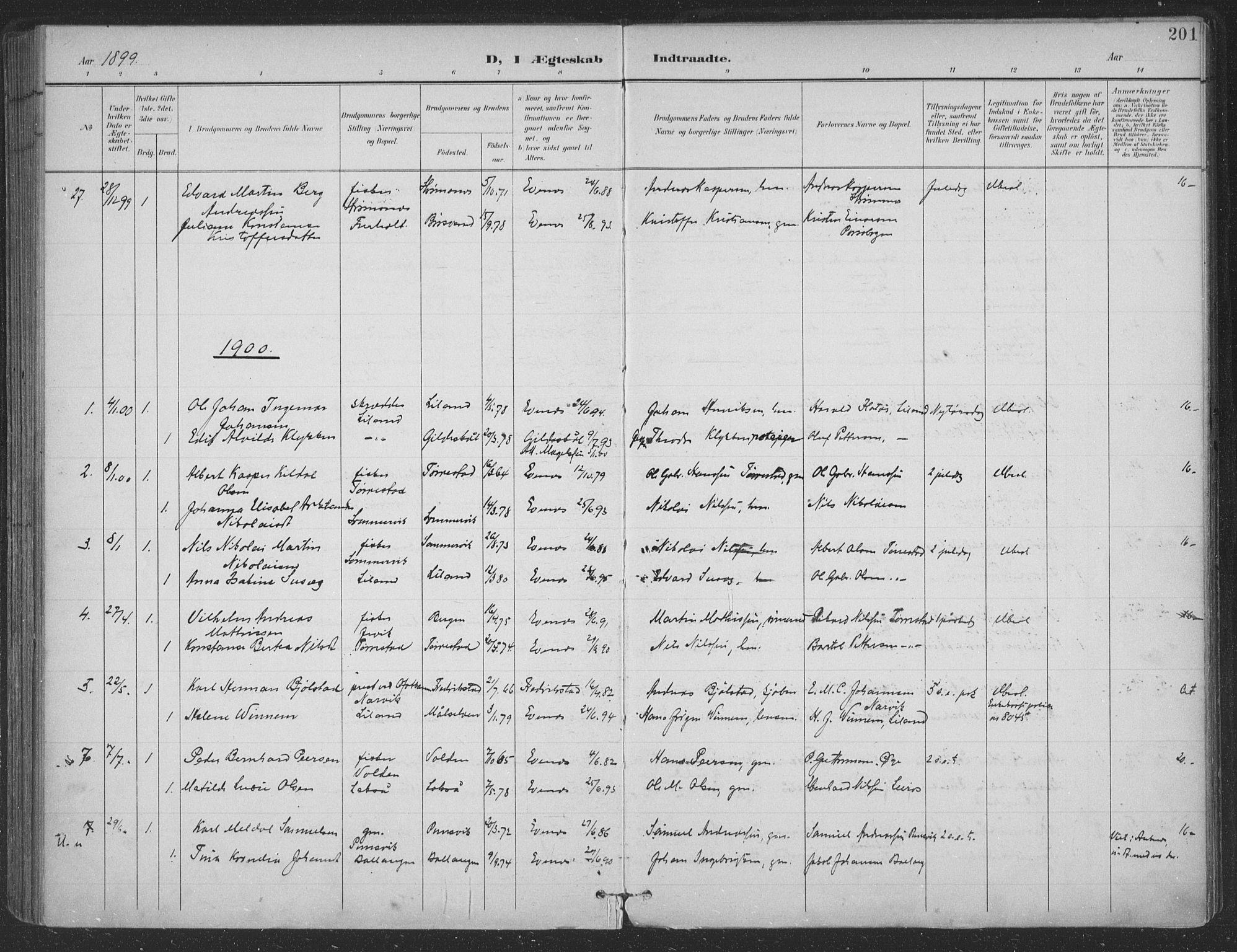 SAT, Ministerialprotokoller, klokkerbøker og fødselsregistre - Nordland, 863/L0899: Ministerialbok nr. 863A11, 1897-1906, s. 201