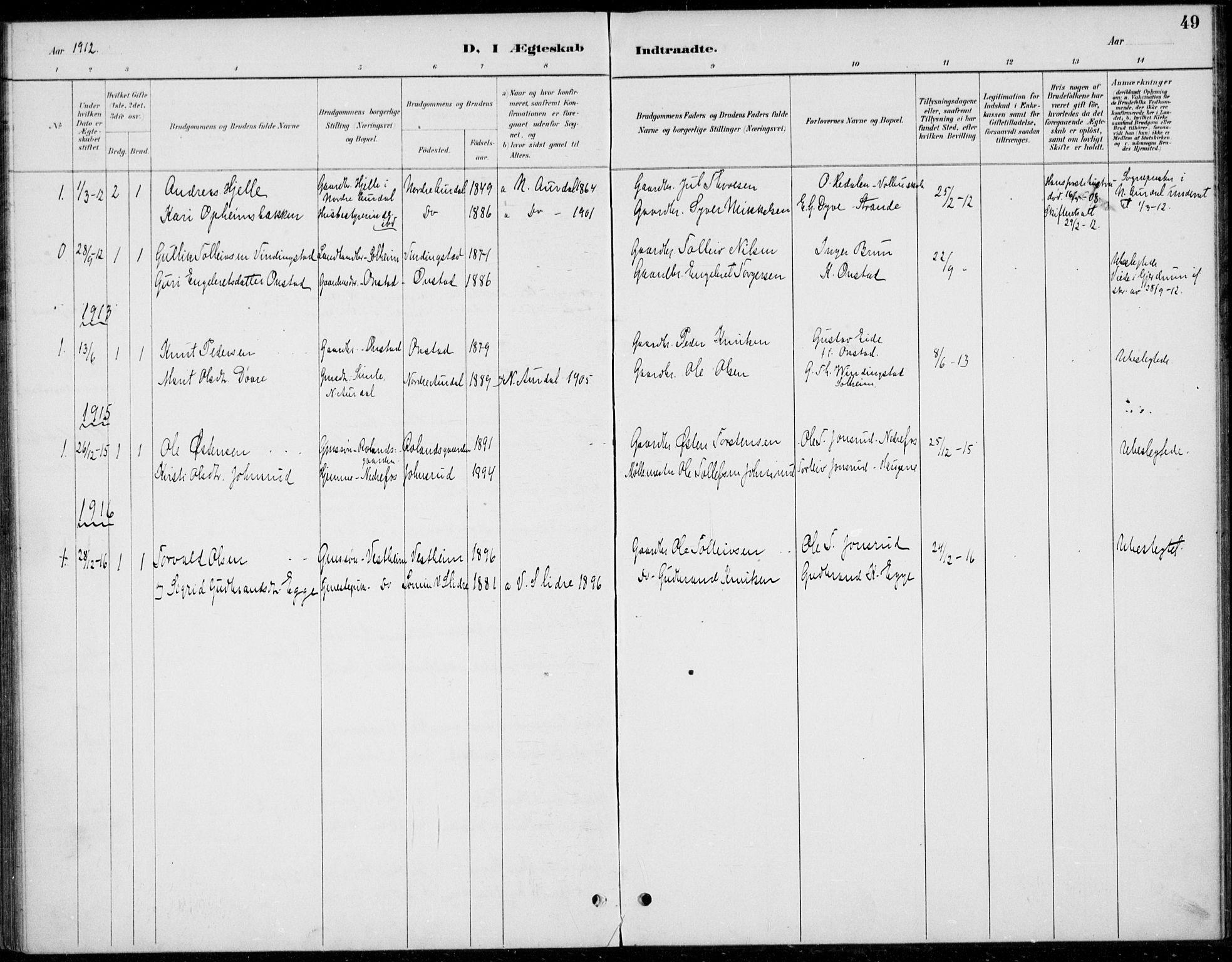 SAH, Øystre Slidre prestekontor, Ministerialbok nr. 5, 1887-1916, s. 49