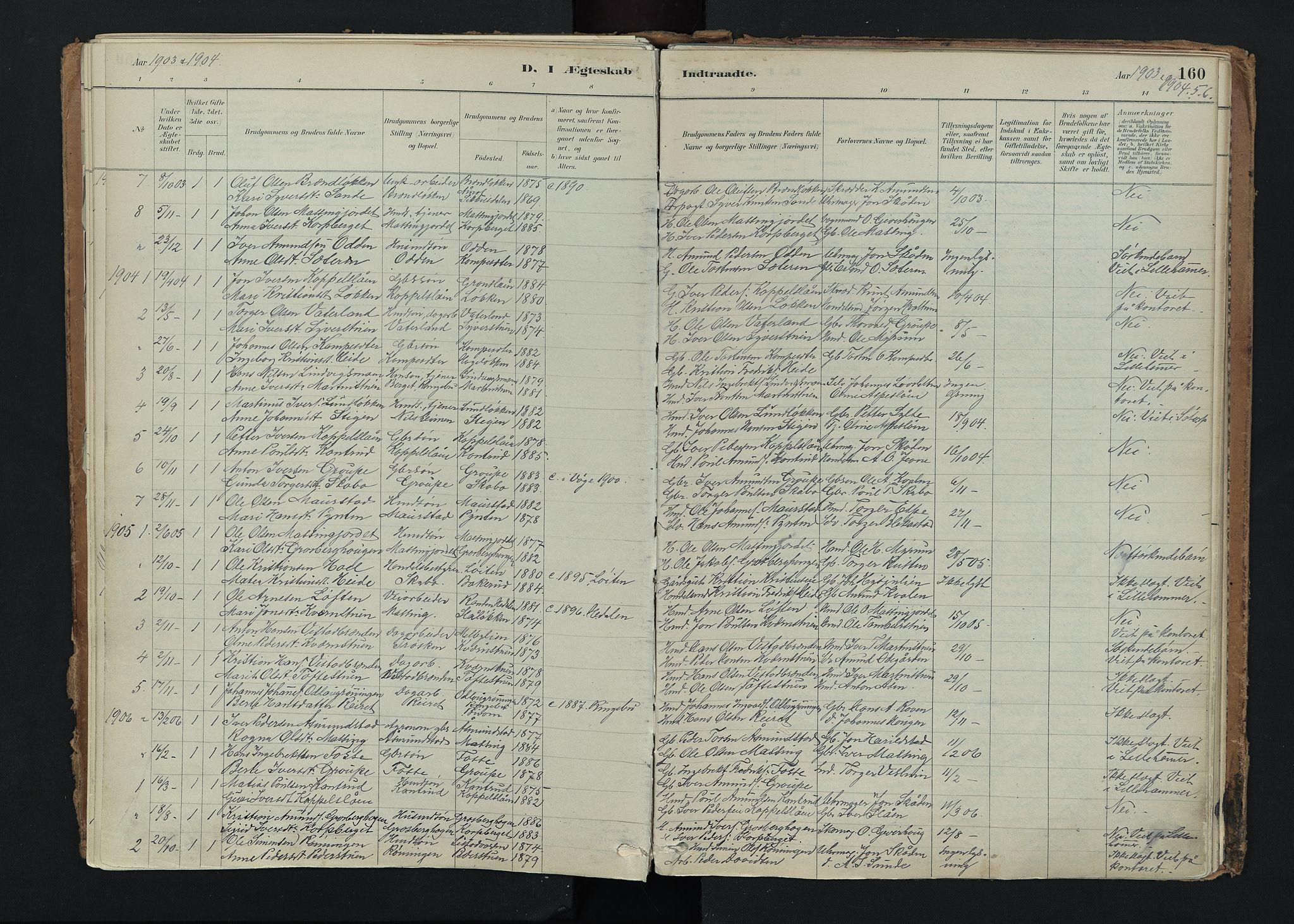 SAH, Nord-Fron prestekontor, Ministerialbok nr. 5, 1884-1914, s. 160