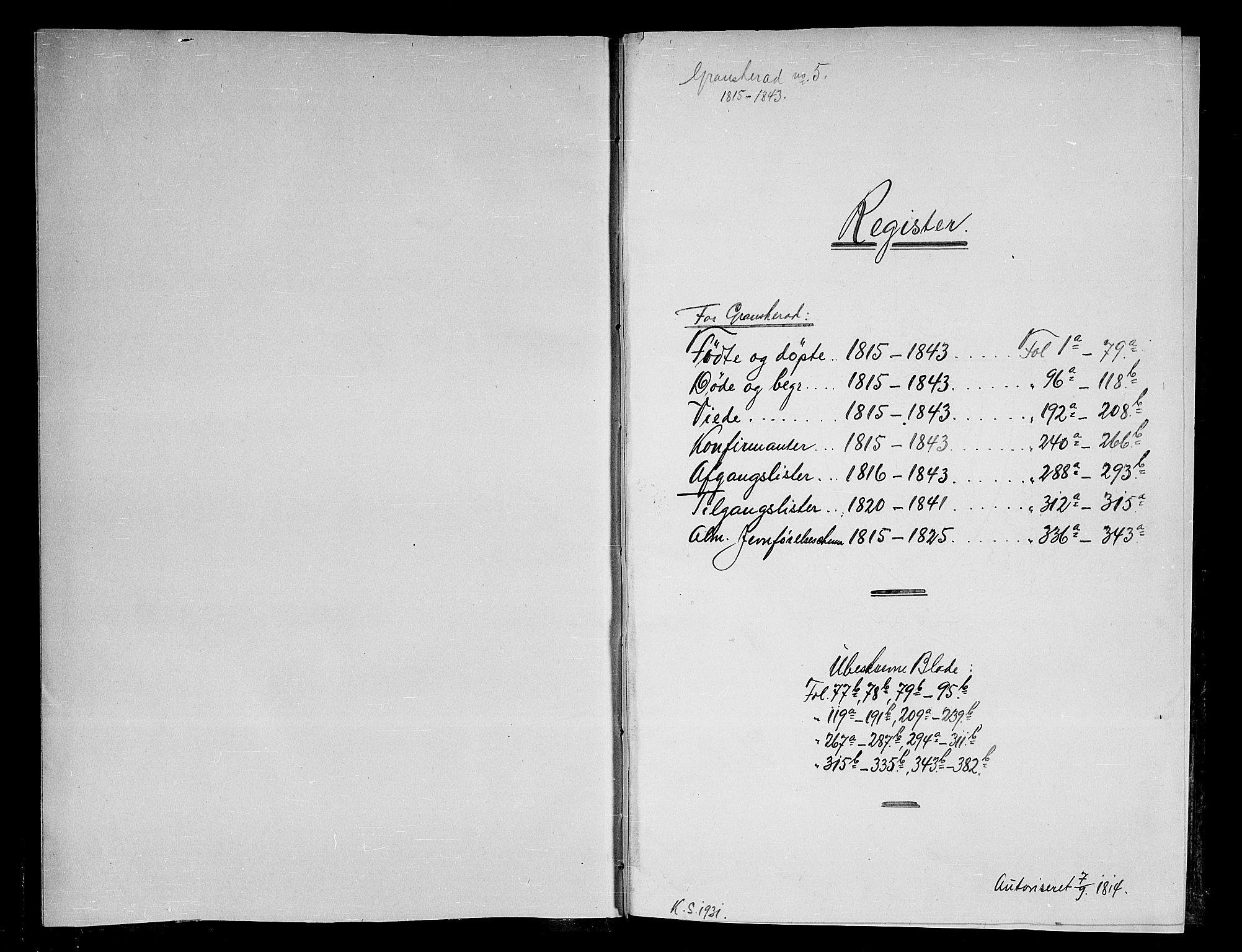 SAKO, Gransherad kirkebøker, F/Fa/L0001: Ministerialbok nr. I 1, 1815-1843