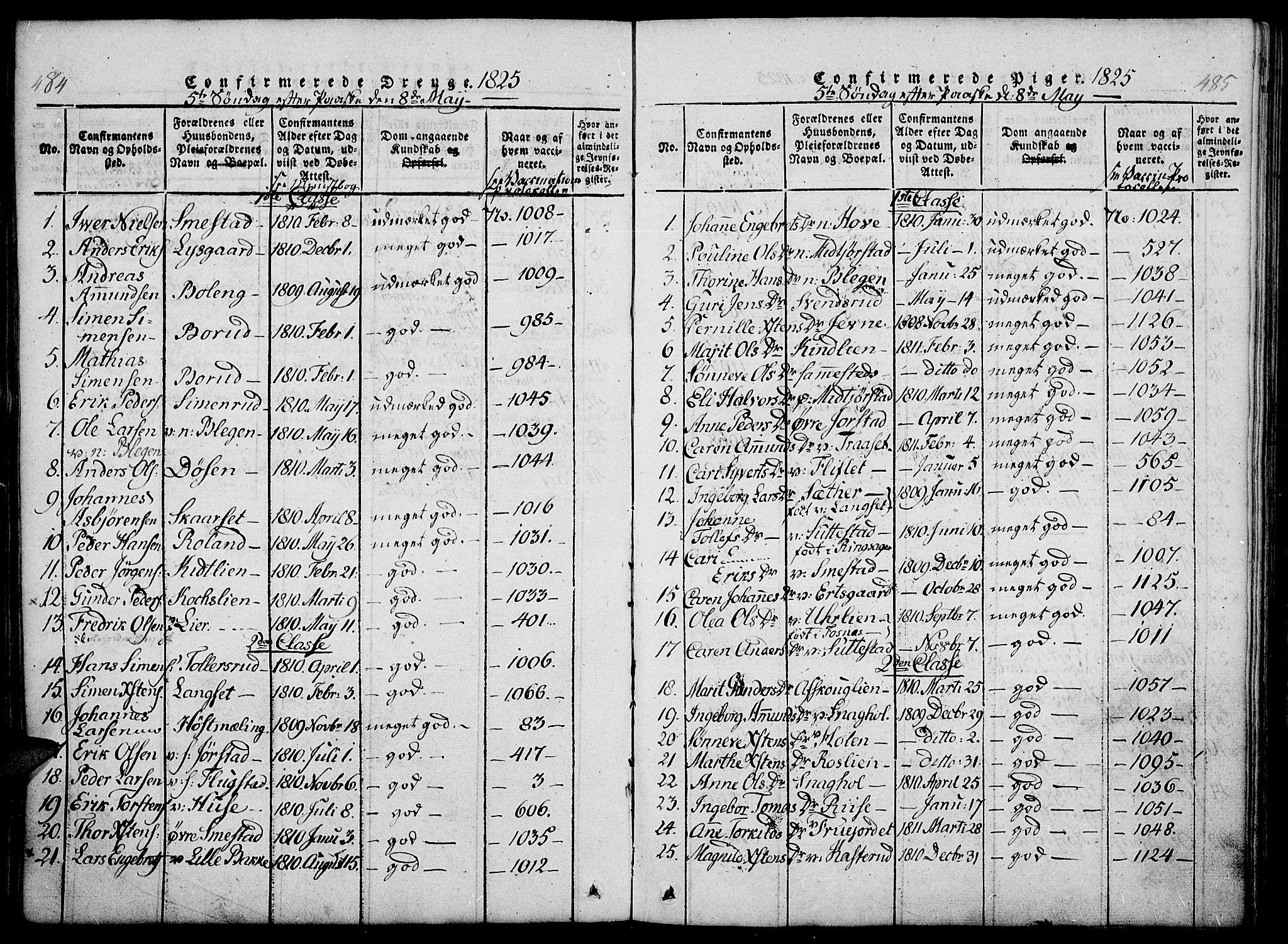 SAH, Fåberg prestekontor, Ministerialbok nr. 3, 1818-1833, s. 484-485