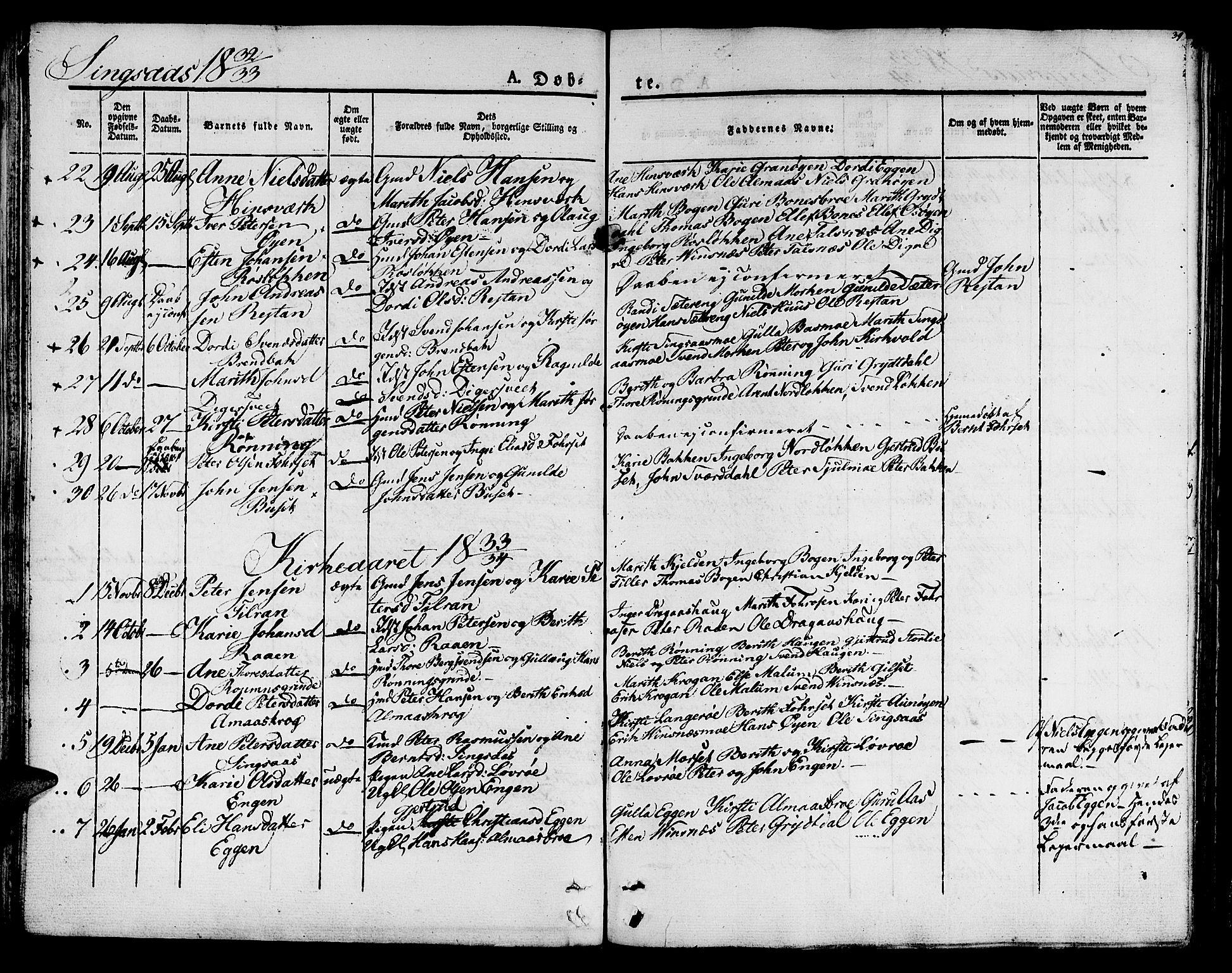 SAT, Ministerialprotokoller, klokkerbøker og fødselsregistre - Sør-Trøndelag, 685/L0958: Ministerialbok nr. 685A04 /2, 1829-1845, s. 39