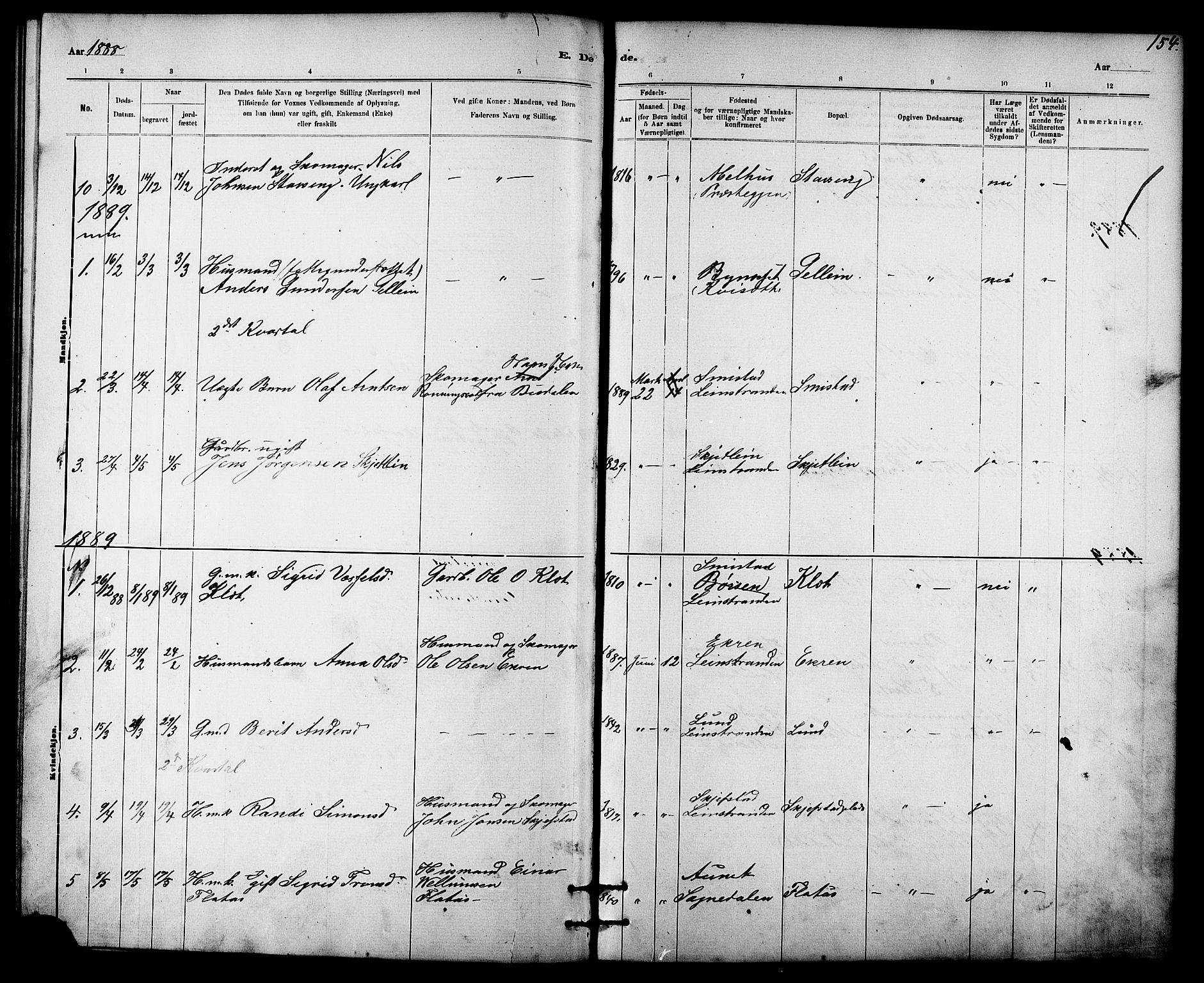 SAT, Ministerialprotokoller, klokkerbøker og fødselsregistre - Sør-Trøndelag, 613/L0395: Klokkerbok nr. 613C03, 1887-1909, s. 154
