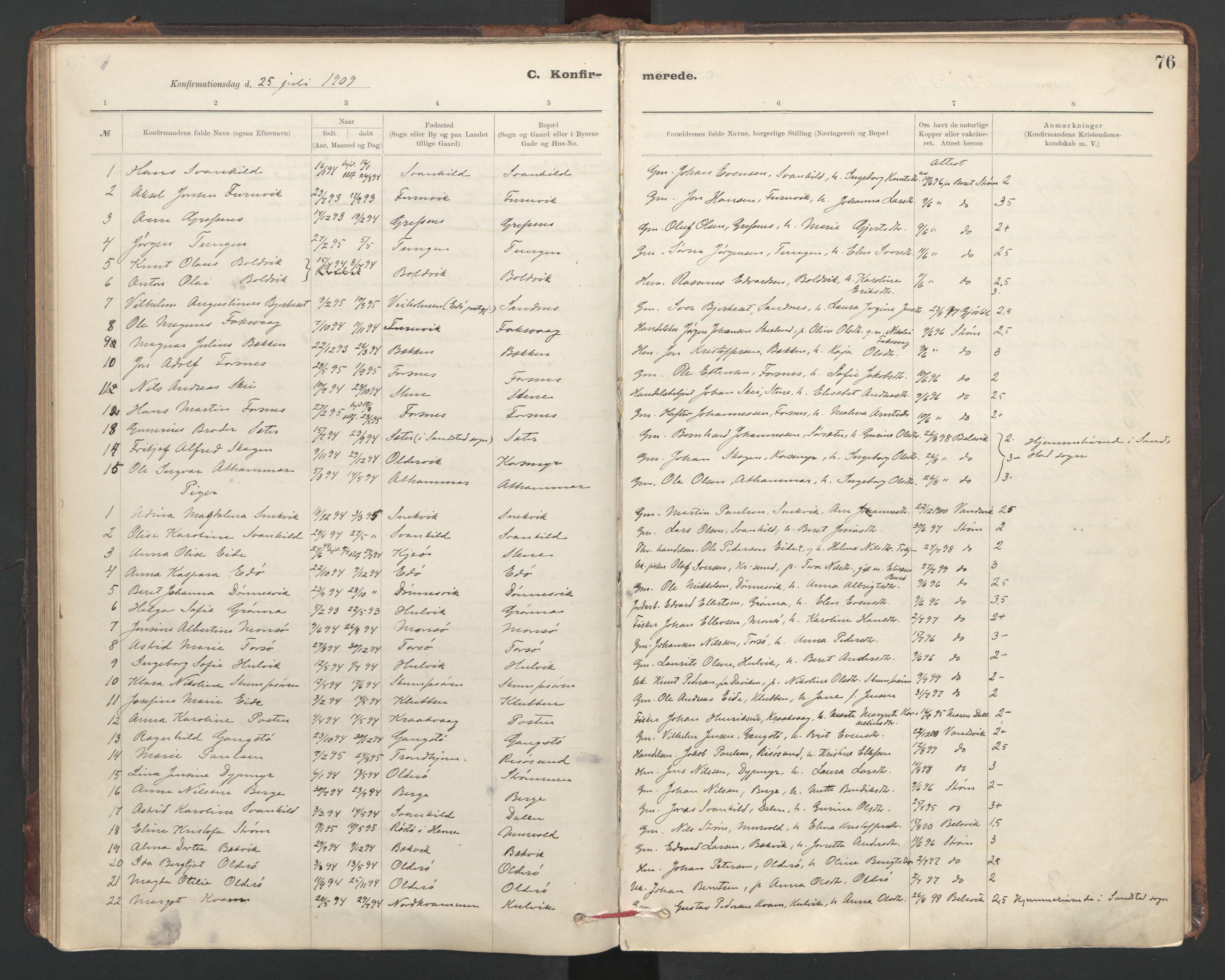 SAT, Ministerialprotokoller, klokkerbøker og fødselsregistre - Sør-Trøndelag, 635/L0552: Ministerialbok nr. 635A02, 1899-1919, s. 76