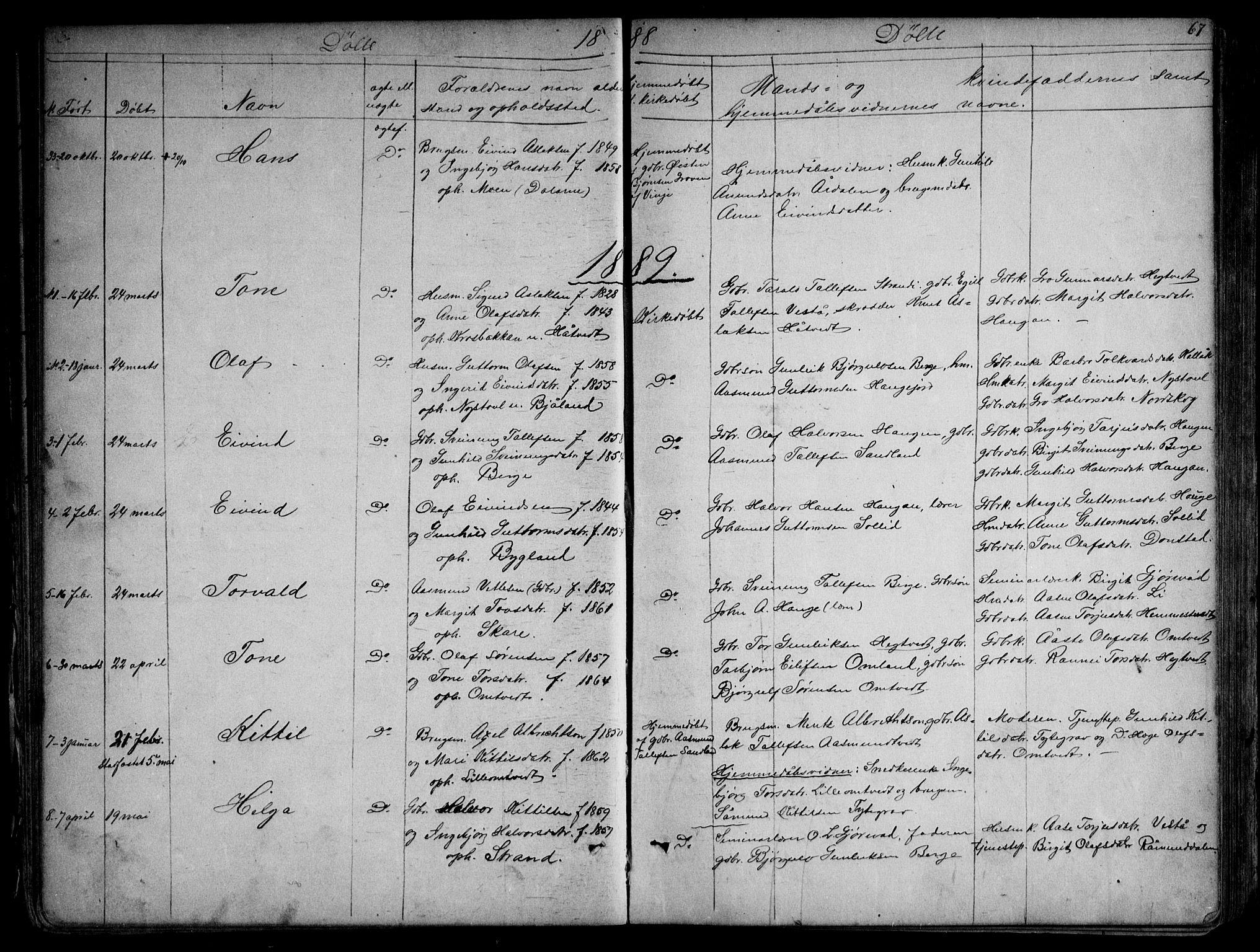 SAKO, Kviteseid kirkebøker, G/Gb/L0002: Klokkerbok nr. II 2, 1850-1892, s. 67